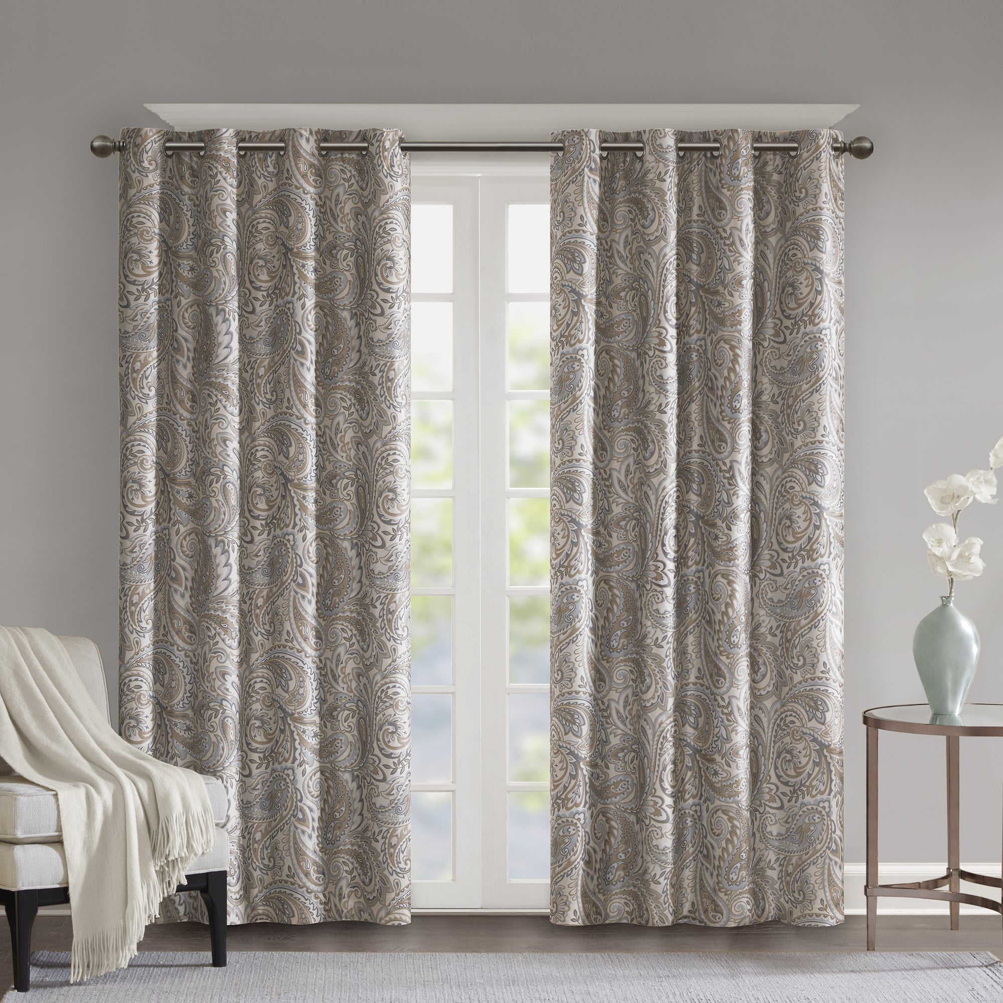 """Sunsmart Dahlia Paisley Printed Total Blackout Single Window Curtain Panel In Grey – 95"""" (As Is Item) For Luxury Collection Faux Leather Blackout Single Curtain Panels (View 3 of 20)"""