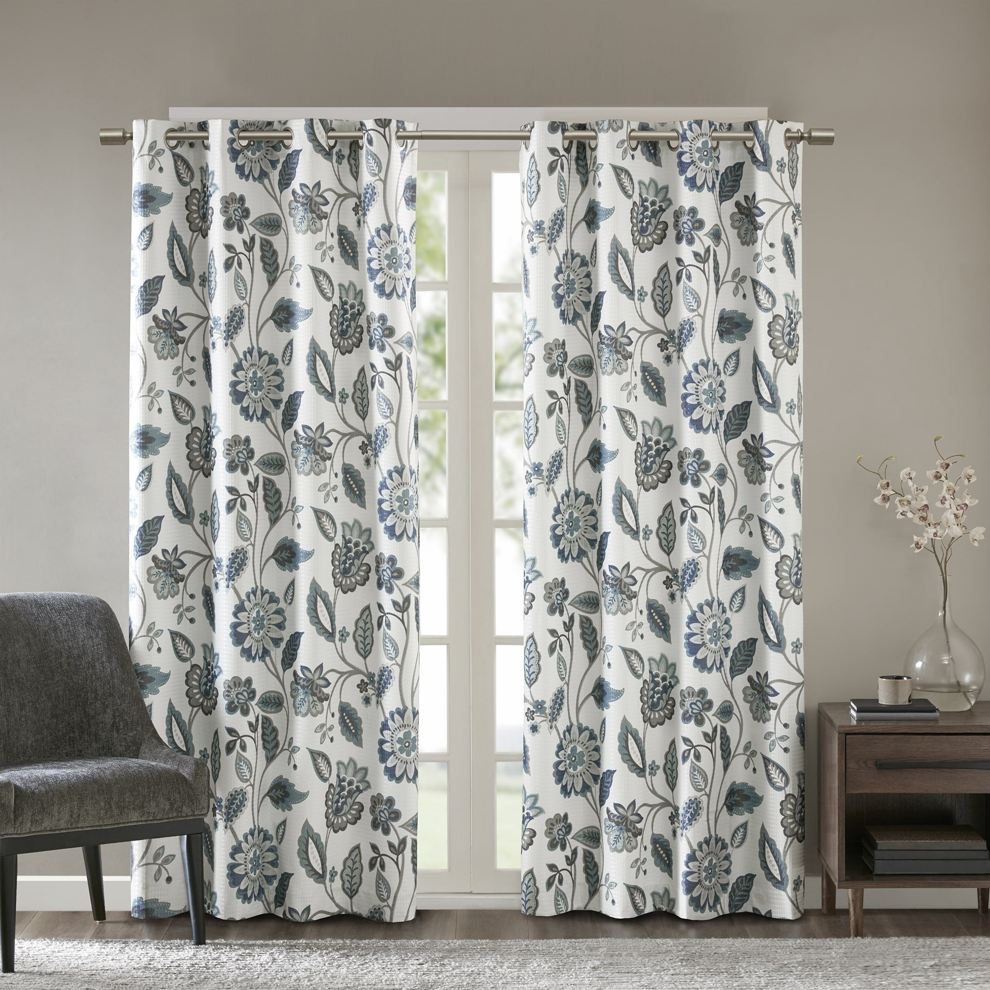 Sunsmart Laurel Jacquard Floral Printed Room Darkening Grommet Single Curtain Panel Throughout Sunsmart Dahlia Paisley Printed Total Blackout Single Window Curtain Panels (View 23 of 30)