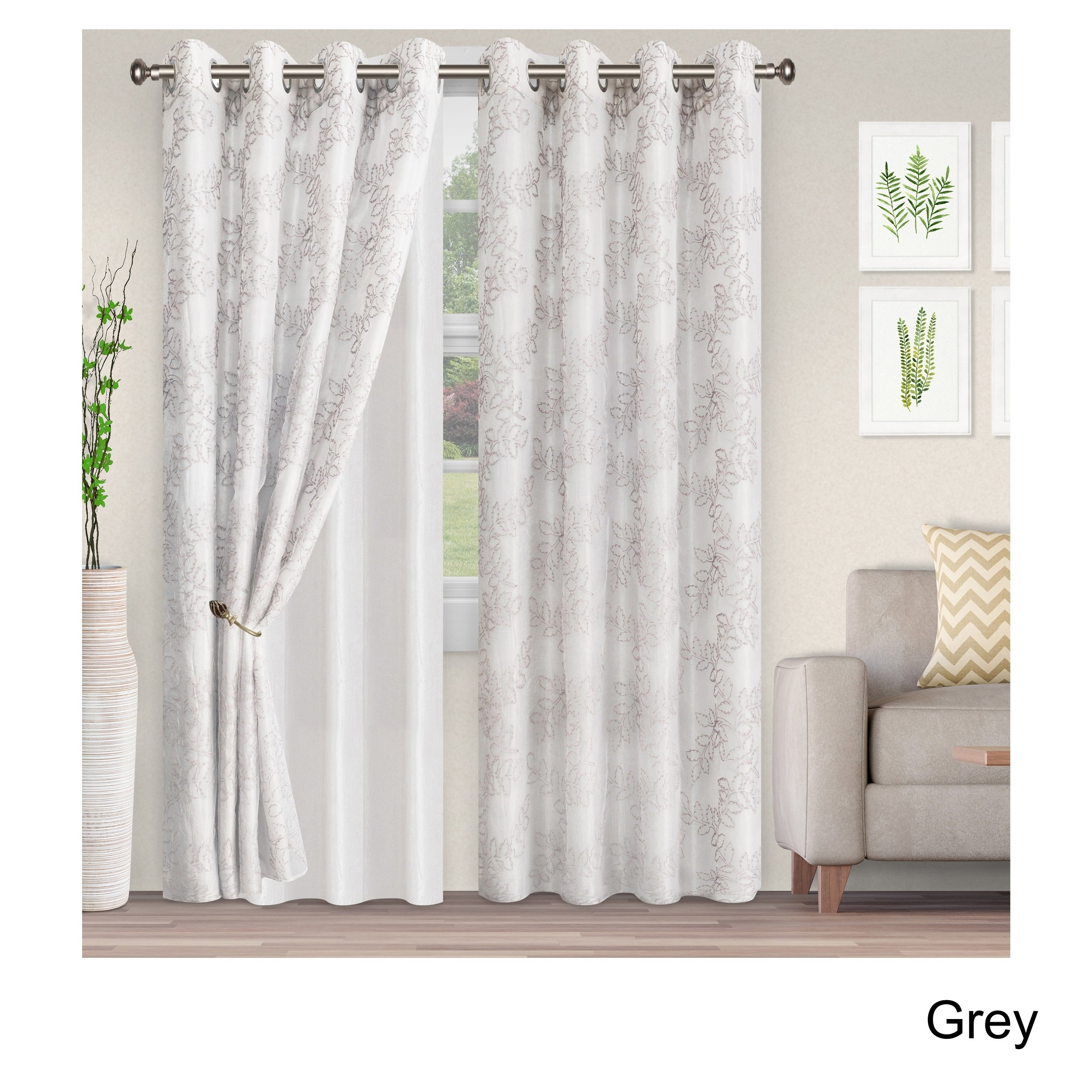 Superior Embroidered Foliage Sheer Grommet Curtain Panel Pair inside Luxury Collection Venetian Sheer Curtain Panel Pairs (Image 18 of 20)