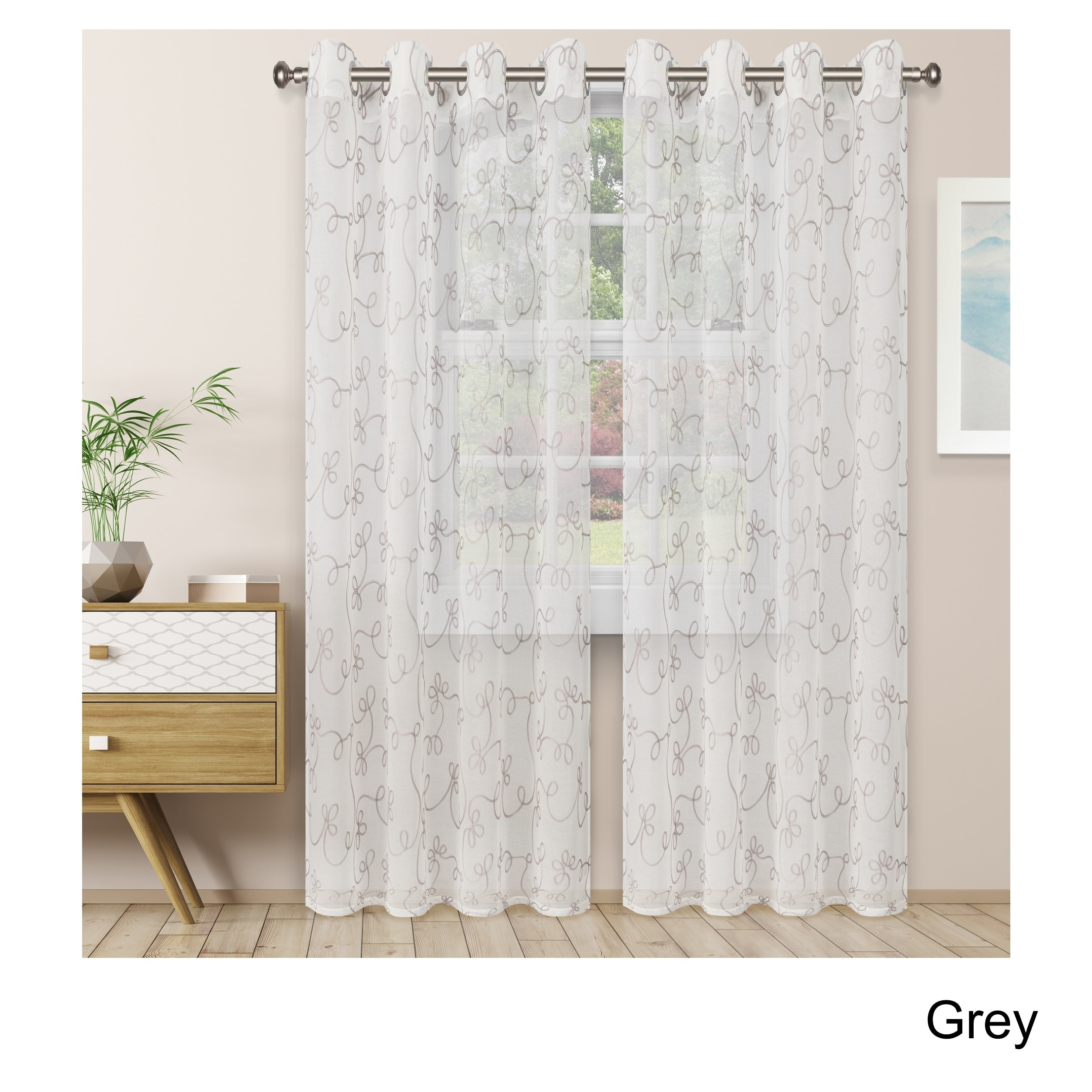 Superior Embroidered Scroll Sheer Grommet Curtain Panel Pair Intended For Superior Solid Insulated Thermal Blackout Grommet Curtain Panel Pairs (View 12 of 30)