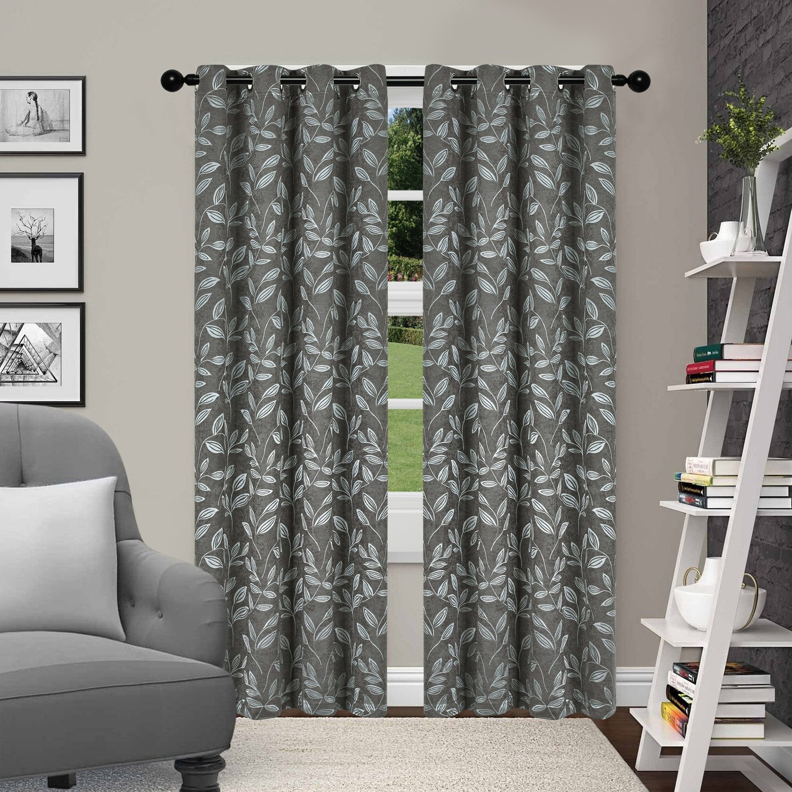 Superior Leaves Blackout 2 Panel Curtains Ivory In 2019 Within Superior Leaves Insulated Thermal Blackout Grommet Curtain Panel Pairs (View 9 of 30)