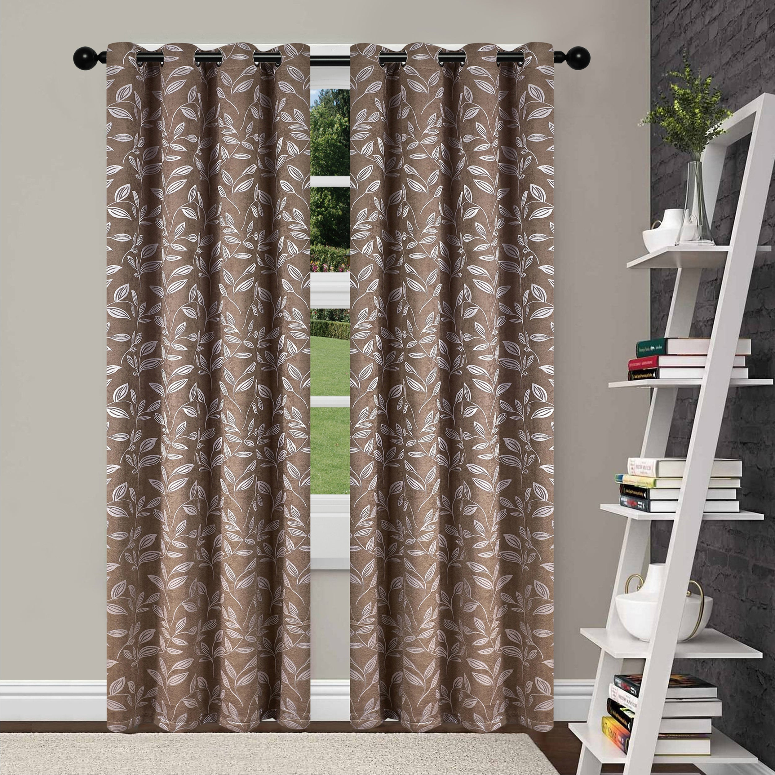 Superior Leaves Insulated Thermal Blackout Grommet Curtain Panel Pair In Insulated Thermal Blackout Curtain Panel Pairs (View 15 of 20)