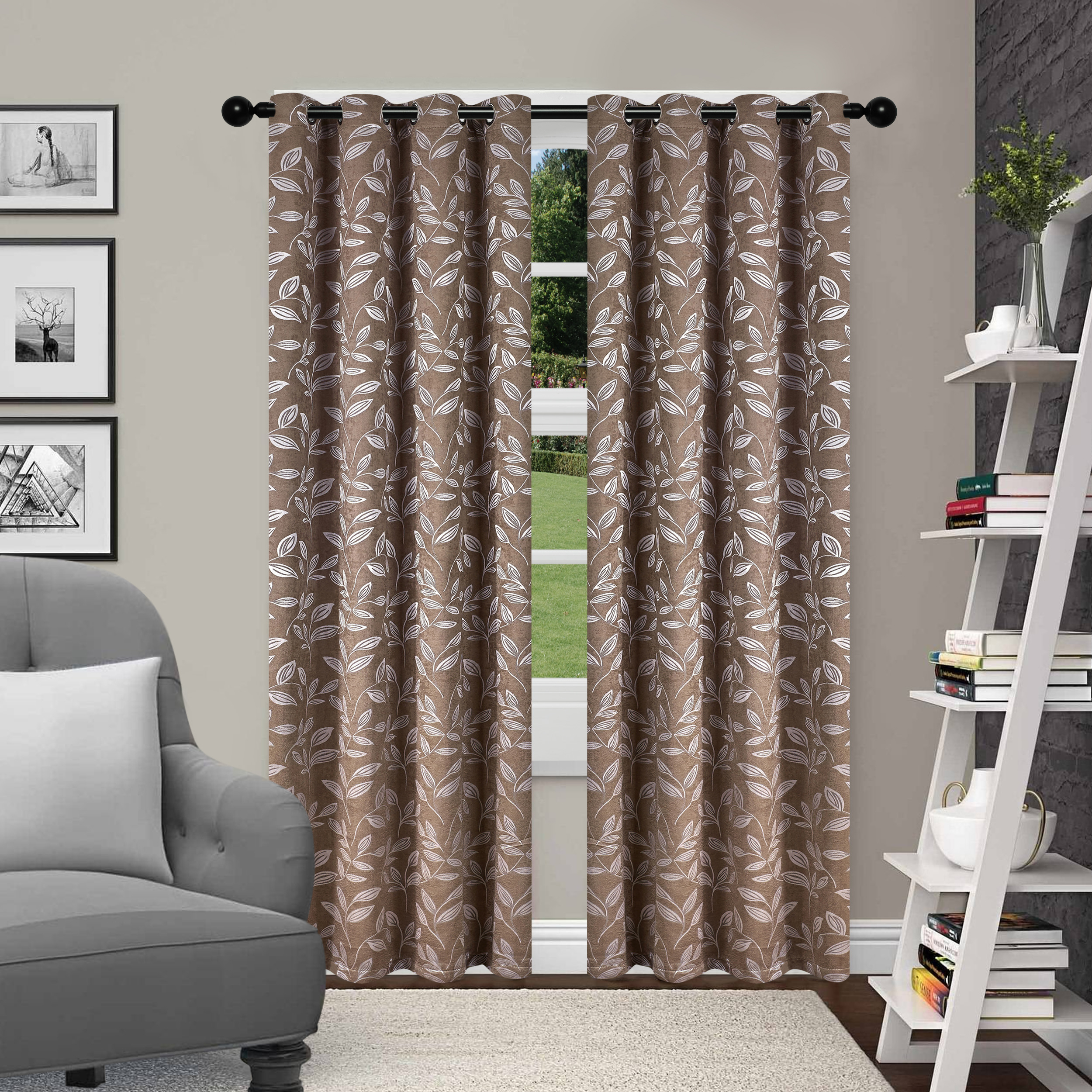Superior Leaves Textured Blackout Curtain Set Of 2 With With Regard To Grommet Top Thermal Insulated Blackout Curtain Panel Pairs (View 20 of 20)