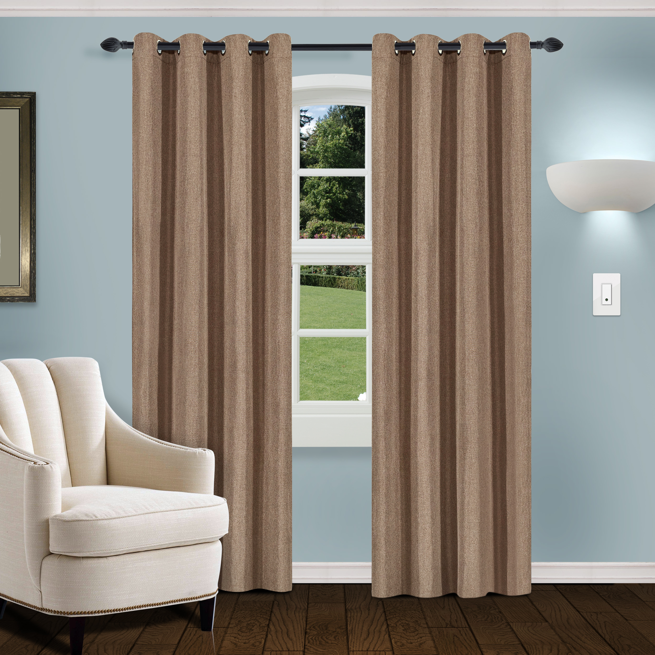 Superior Linen Textured Blackout Curtain Set Of 2 With Grommet Top Header Intended For Superior Leaves Insulated Thermal Blackout Grommet Curtain Panel Pairs (View 14 of 30)