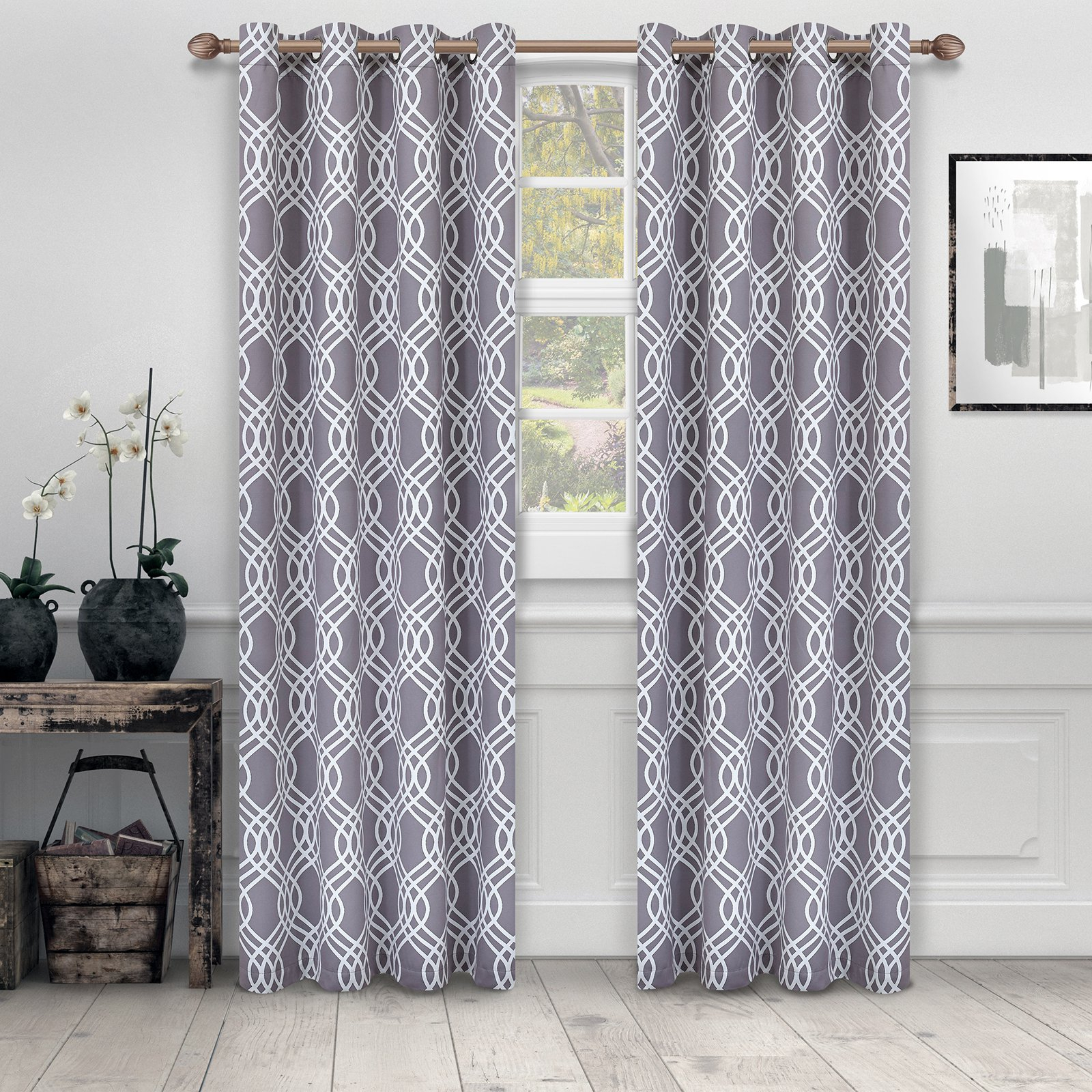 Superior Ribbon Blackout 2 Panel Curtains Gray In 2019 With Regard To Superior Leaves Insulated Thermal Blackout Grommet Curtain Panel Pairs (View 12 of 30)