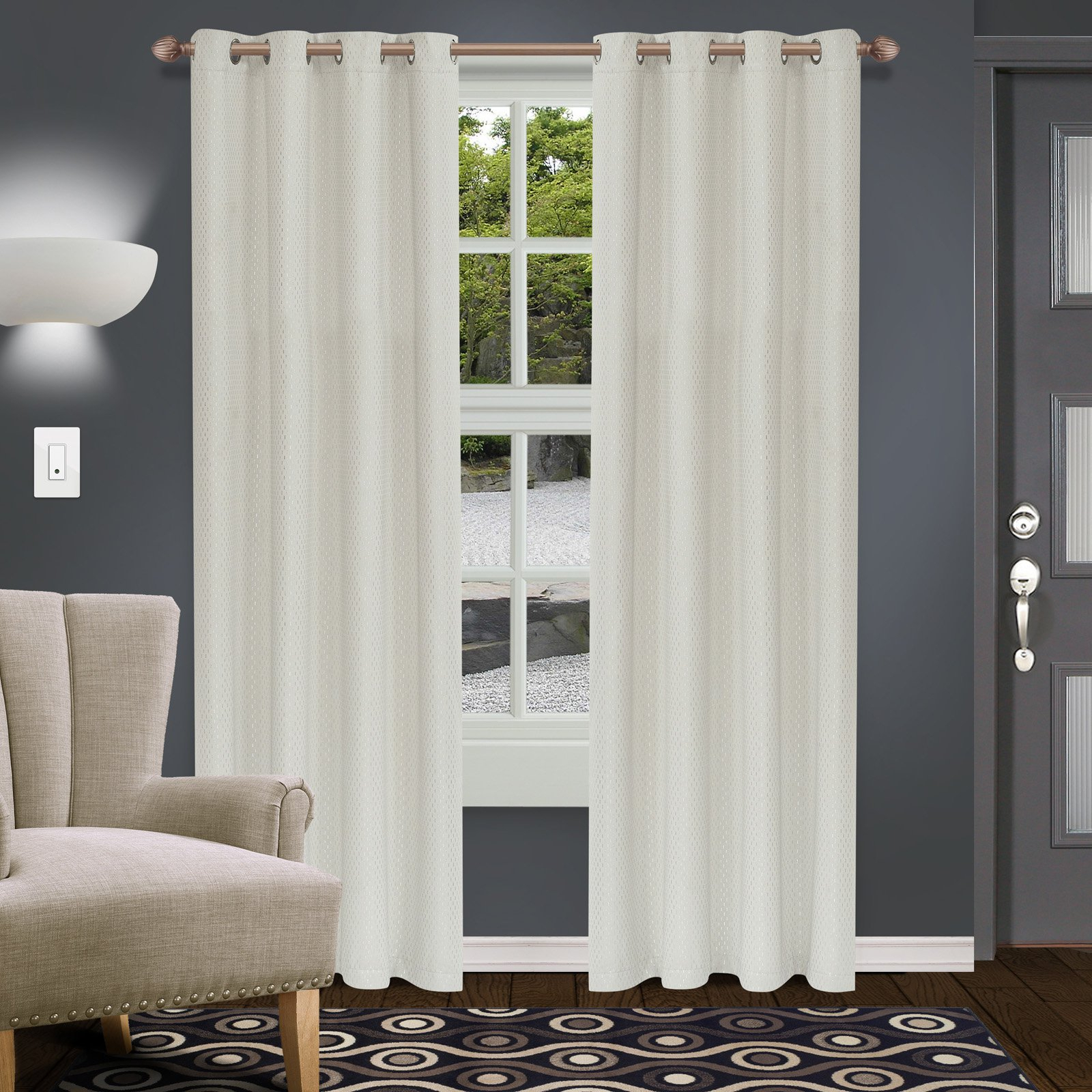 Superior Shimmer Blackout 2 Panel Curtains Ivory | Products Pertaining To Superior Leaves Insulated Thermal Blackout Grommet Curtain Panel Pairs (View 19 of 30)