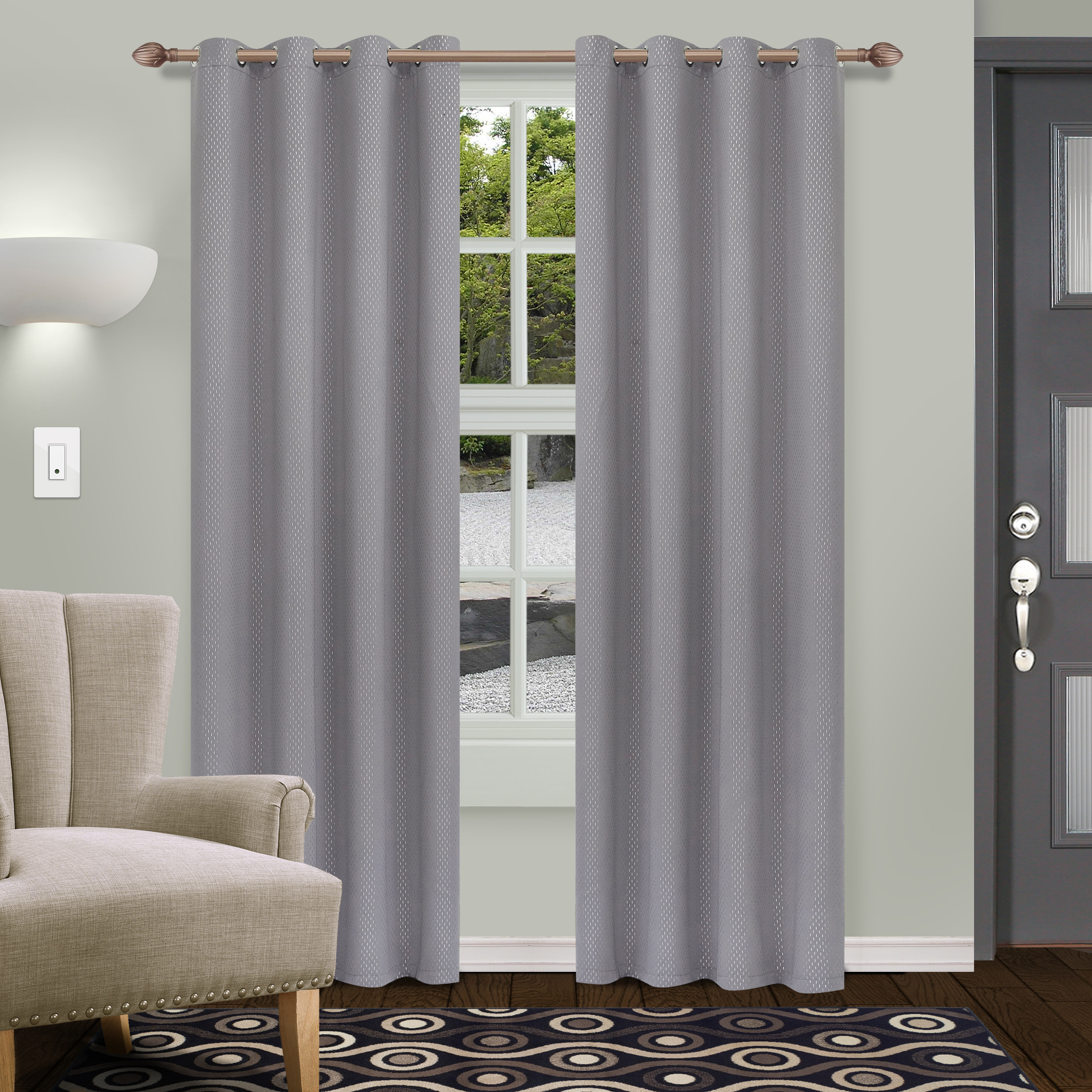 Superior Shimmer Textured Blackout Curtain Set Of 2, Insulated Panel With Grommet Top – Walmart Pertaining To Superior Solid Insulated Thermal Blackout Grommet Curtain Panel Pairs (View 17 of 30)