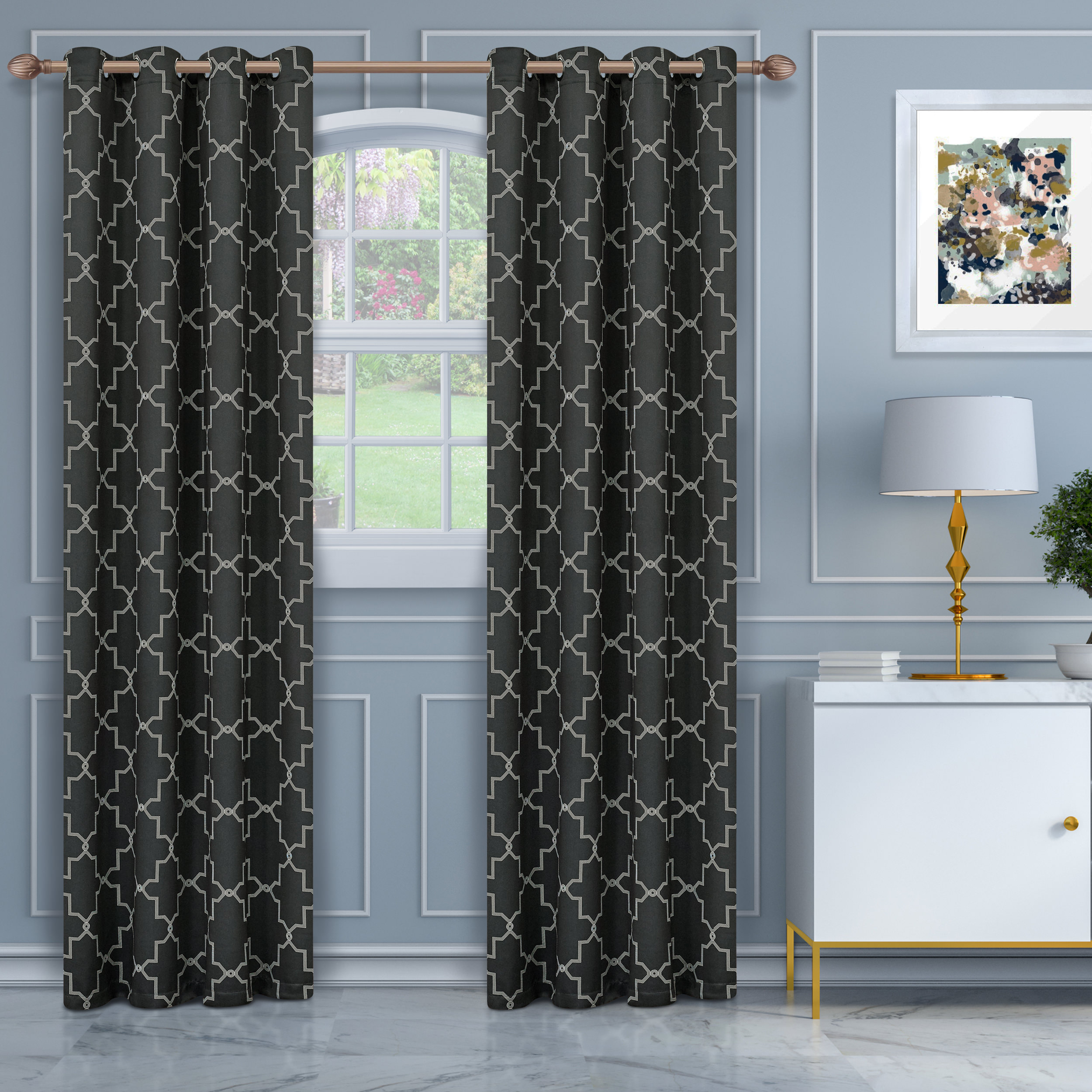 Superior Soft Quality Woven, Imperial Trellis Blackout Thermal Grommet Curtain Panel Pair Pertaining To Superior Solid Insulated Thermal Blackout Grommet Curtain Panel Pairs (View 23 of 30)