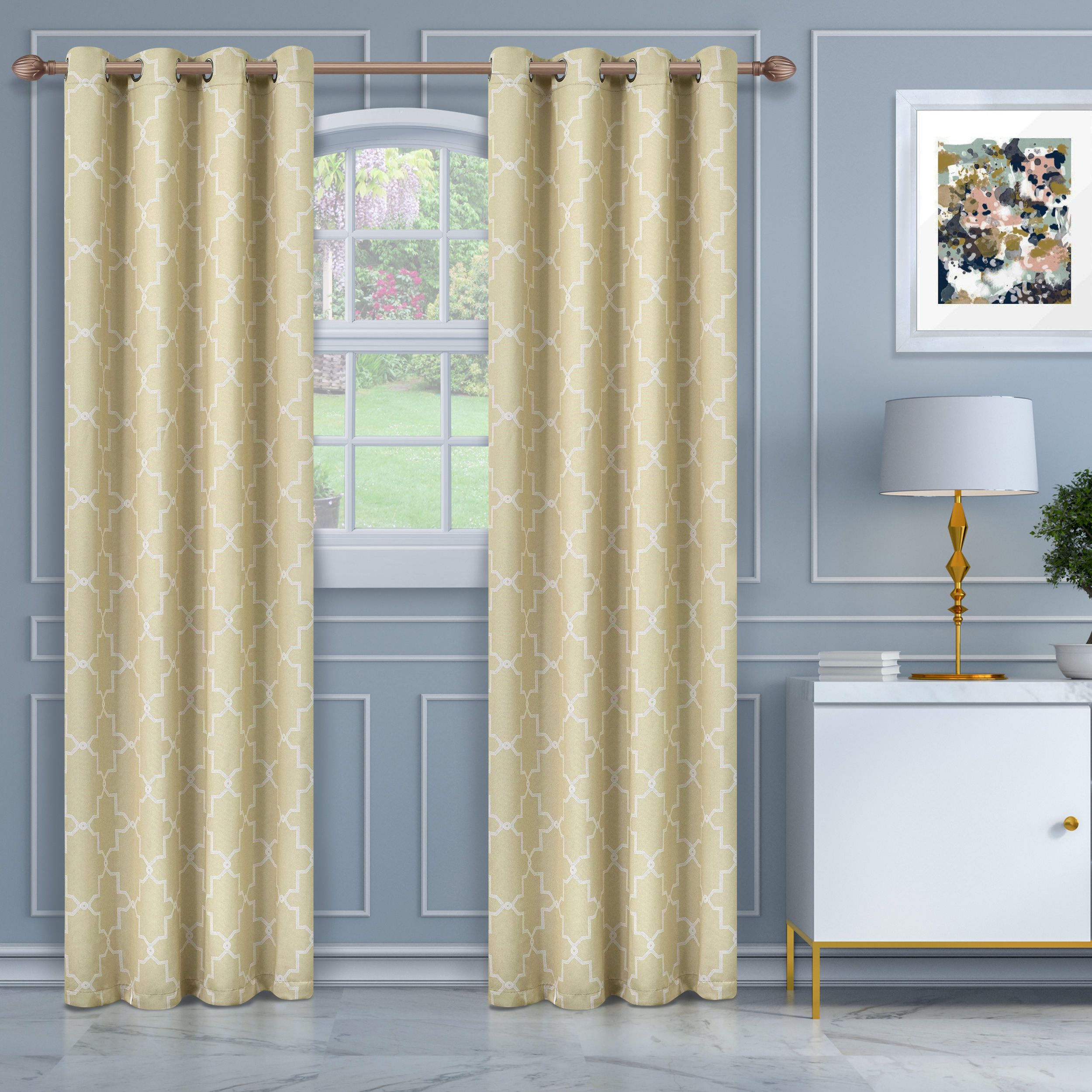 Superior Soft Quality Woven, Imperial Trellis Blackout Thermal Grommet Curtain Panel Pair With Superior Solid Insulated Thermal Blackout Grommet Curtain Panel Pairs (View 19 of 30)