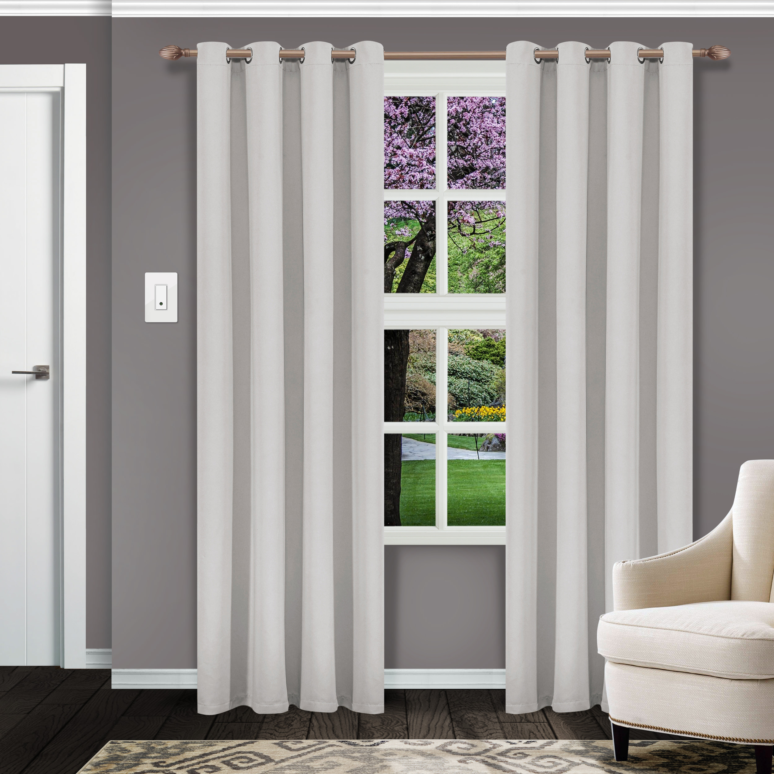 Superior Solid Textured Blackout Curtain Set Of 2,insulated Throughout Superior Leaves Insulated Thermal Blackout Grommet Curtain Panel Pairs (View 11 of 30)