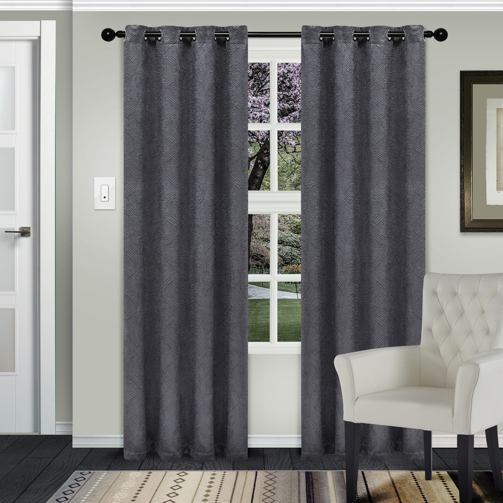 Superior Waverly Blackout 2 Panel Curtains Silver In 2019 Regarding Superior Leaves Insulated Thermal Blackout Grommet Curtain Panel Pairs (View 4 of 30)