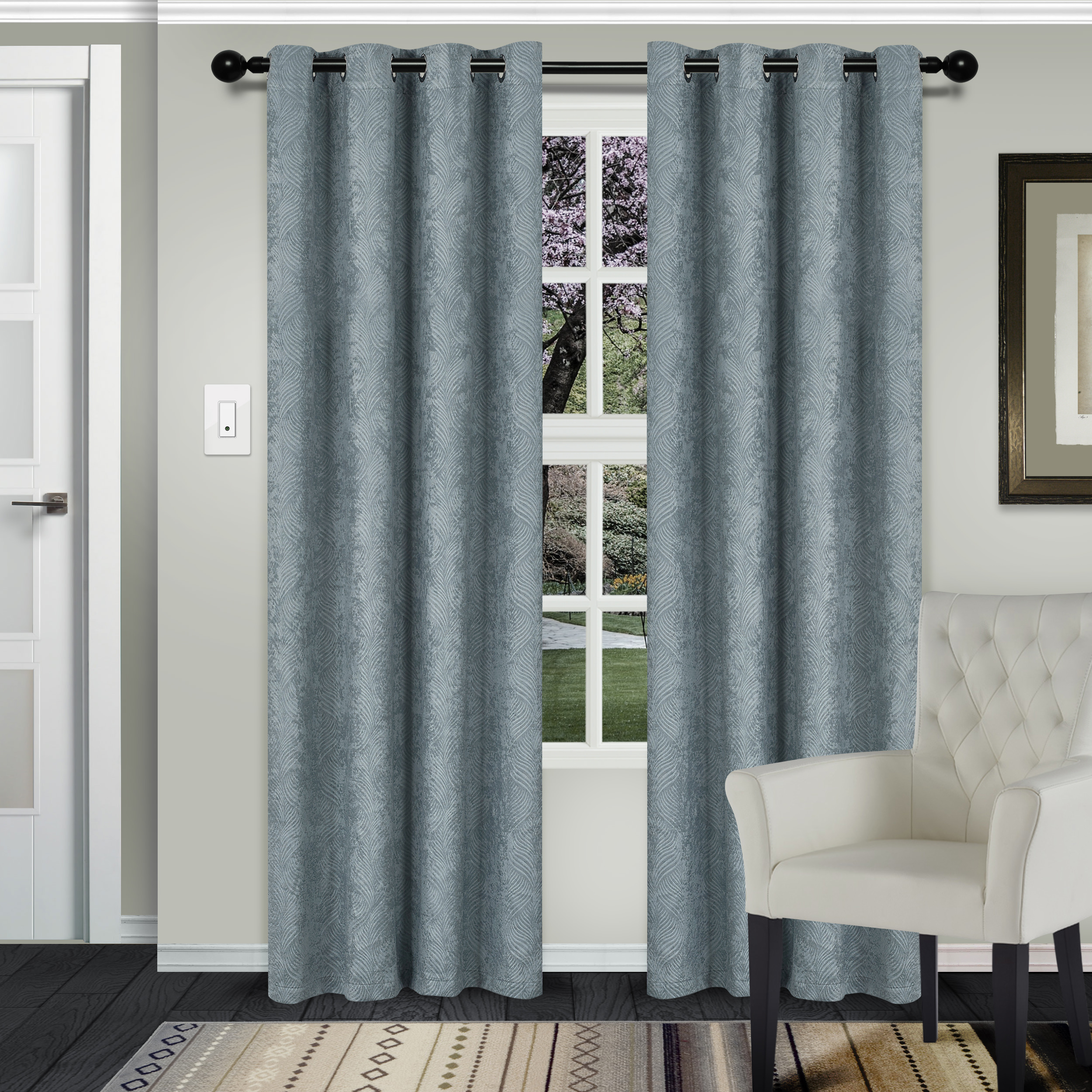 Superior Waverly Textured Blackout Curtain Set Of 2, Thermal With Regard To Superior Solid Insulated Thermal Blackout Grommet Curtain Panel Pairs (View 7 of 30)