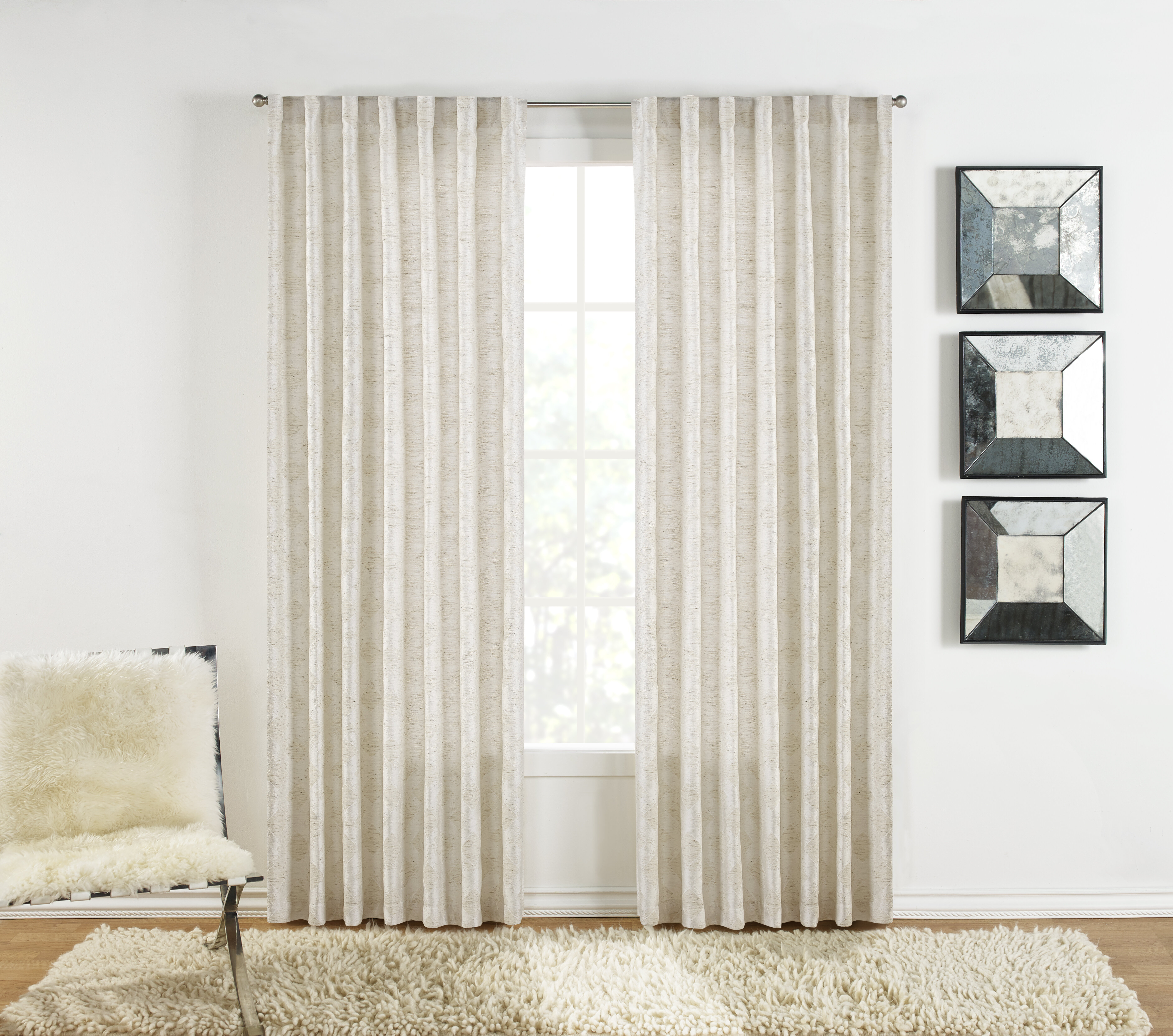 Sure Fit Warsa Geometric Room Darkening Rod Pocket Curtain In Willow Rod Pocket Window Curtain Panels (View 21 of 30)