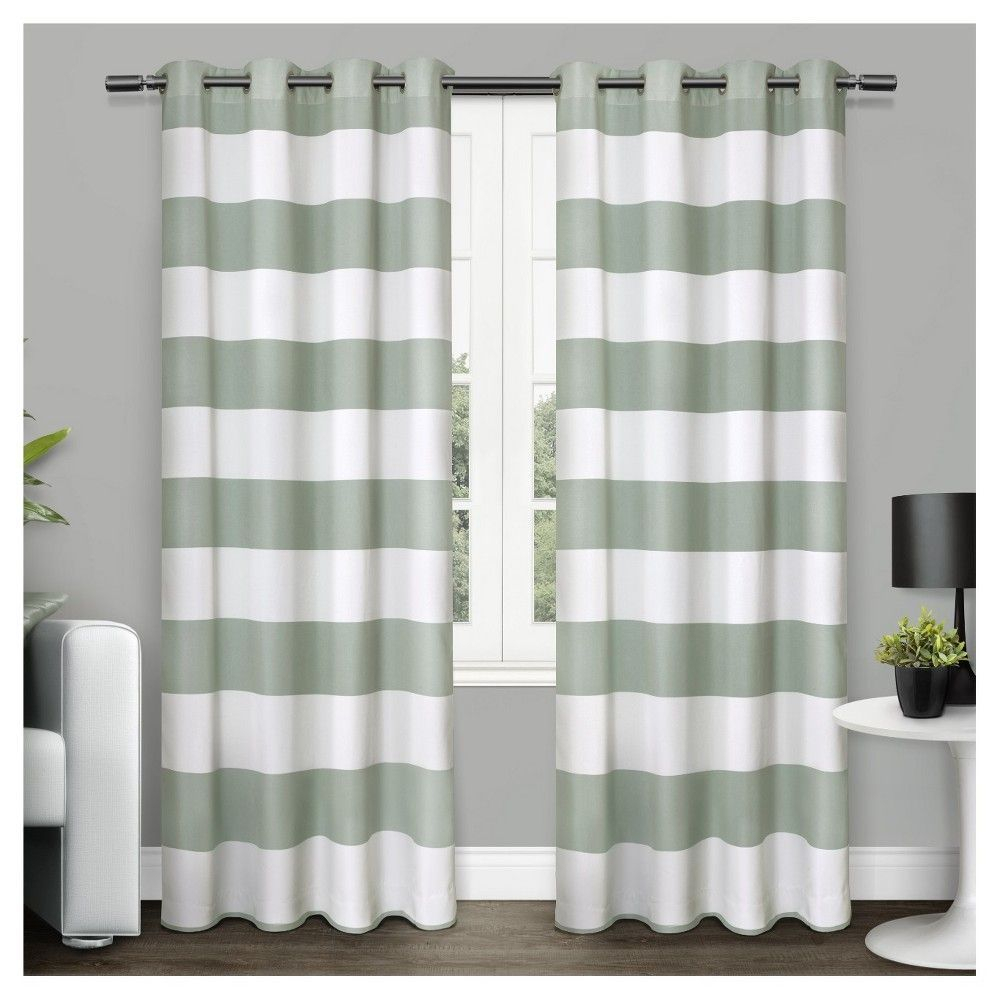 Surfside Cotton Cabana Stripe Window Curtain Panel Pair Sea With Ocean Striped Window Curtain Panel Pairs With Grommet Top (View 7 of 20)