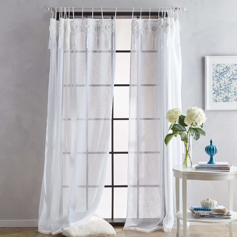 Suri Macrame Sheer Tab Top Single Curtain Panel Regarding Single Curtain Panels (View 21 of 31)
