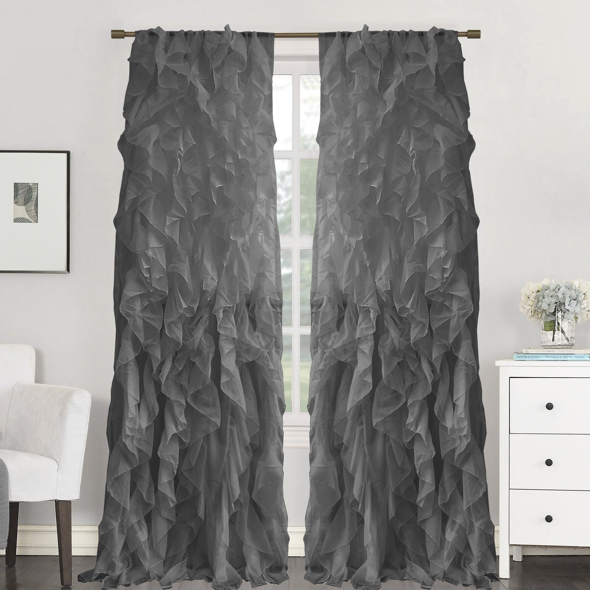 "Sweet Home Collection Sheer Voile Waterfall Ruffled Tier 84 Inch Single Curtain Panel – 84"" Long X 50"" Wide In Sheer Voile Waterfall Ruffled Tier Single Curtain Panels (View 5 of 20)"