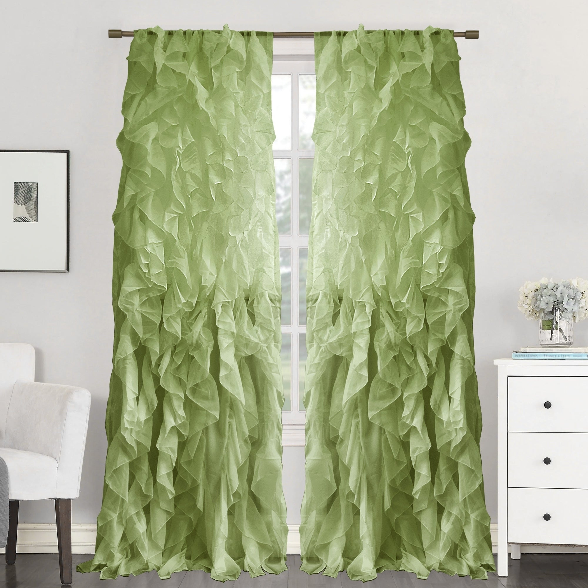 "Sweet Home Collection Sheer Voile Waterfall Ruffled Tier 96 Inch Single Curtain Panel – 96"" Long X 50"" Wide Pertaining To Sheer Voile Ruffled Tier Window Curtain Panels (View 20 of 20)"