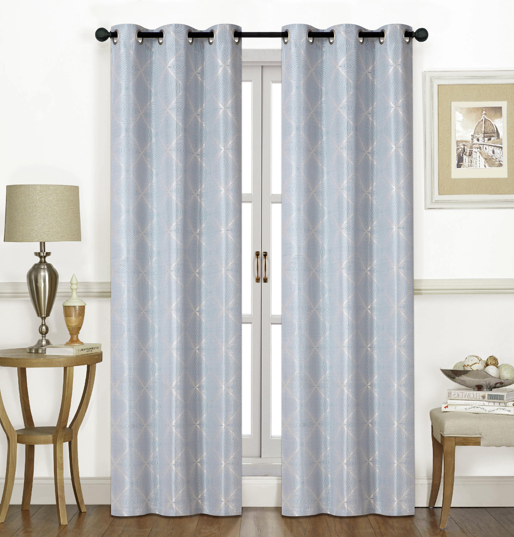 Tallmadge Geometric Grommet Room Darkening Curtain Panels with regard to Grommet Room Darkening Curtain Panels (Image 18 of 20)