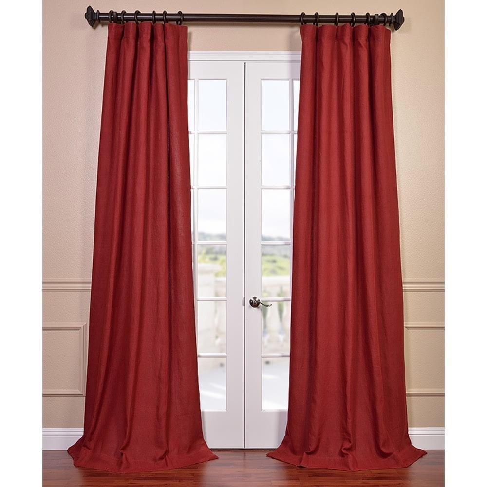 Tango Red French Linen Lined Curtain Panel 50w X 120l Throughout French Linen Lined Curtain Panels (View 16 of 20)