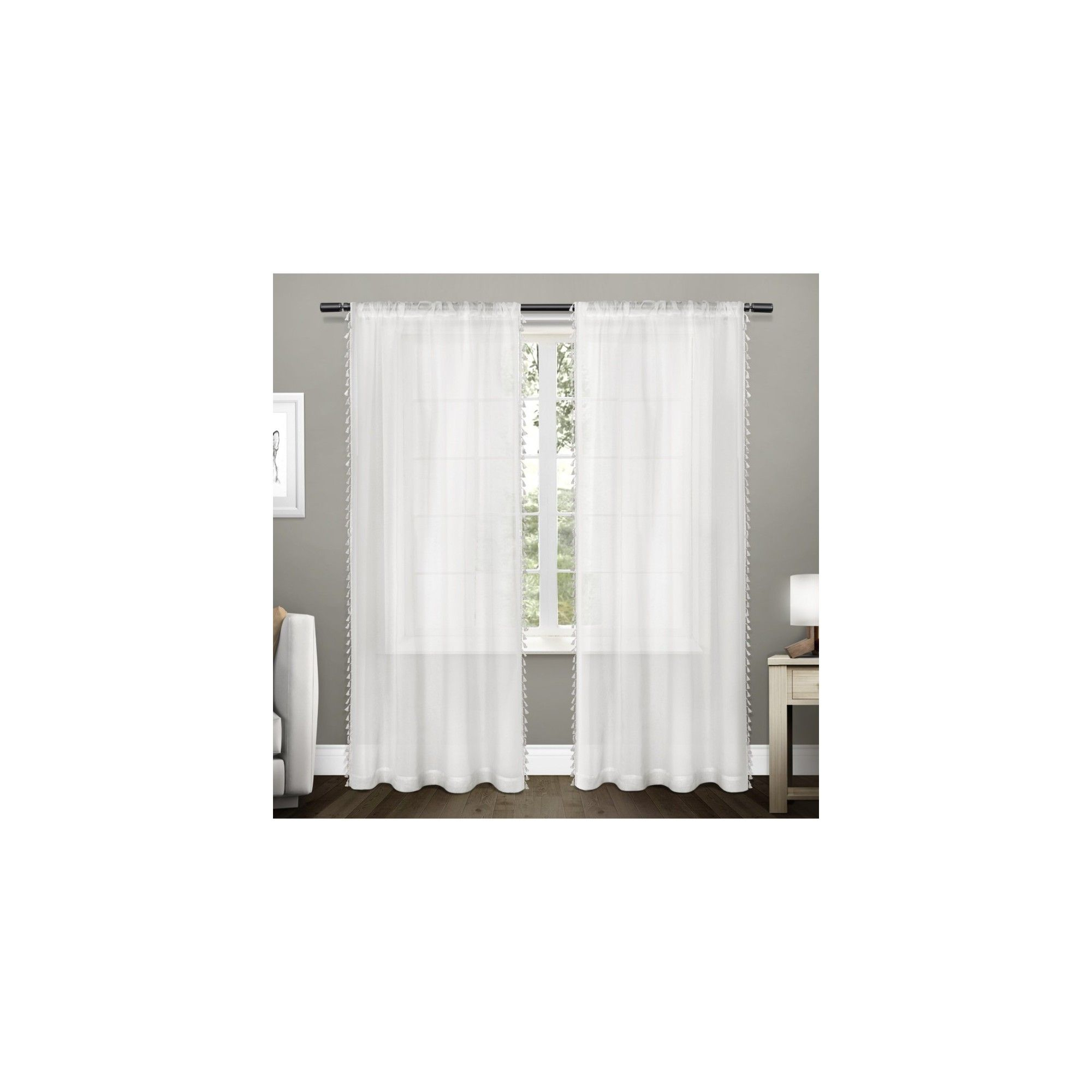 Tassels Textured Sheer Bordered Tassel Applique Rod Pocket With Regard To Tassels Applique Sheer Rod Pocket Top Curtain Panel Pairs (View 11 of 30)