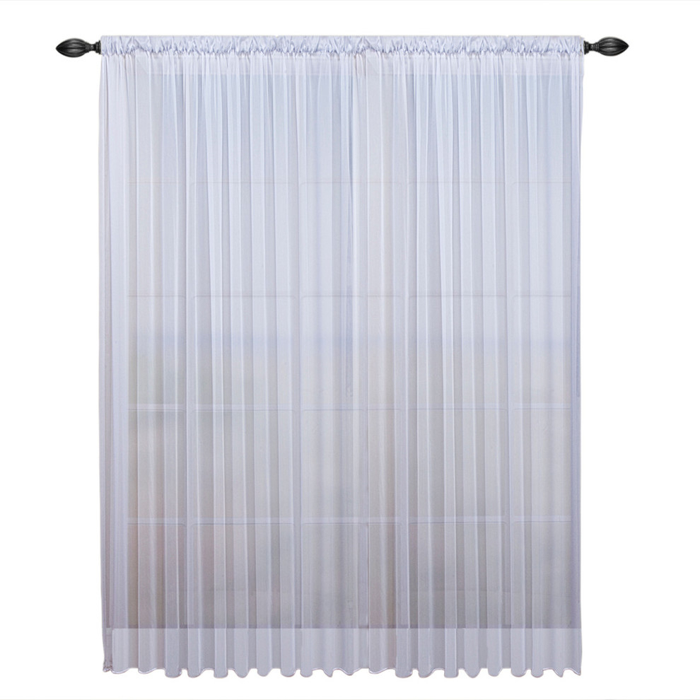 """Tergaline Double Wide Sheer Curtain Panel With Weighted Hem, White, 108""""x63"""" in Tacoma Double-Blackout Grommet Curtain Panels (Image 28 of 30)"""