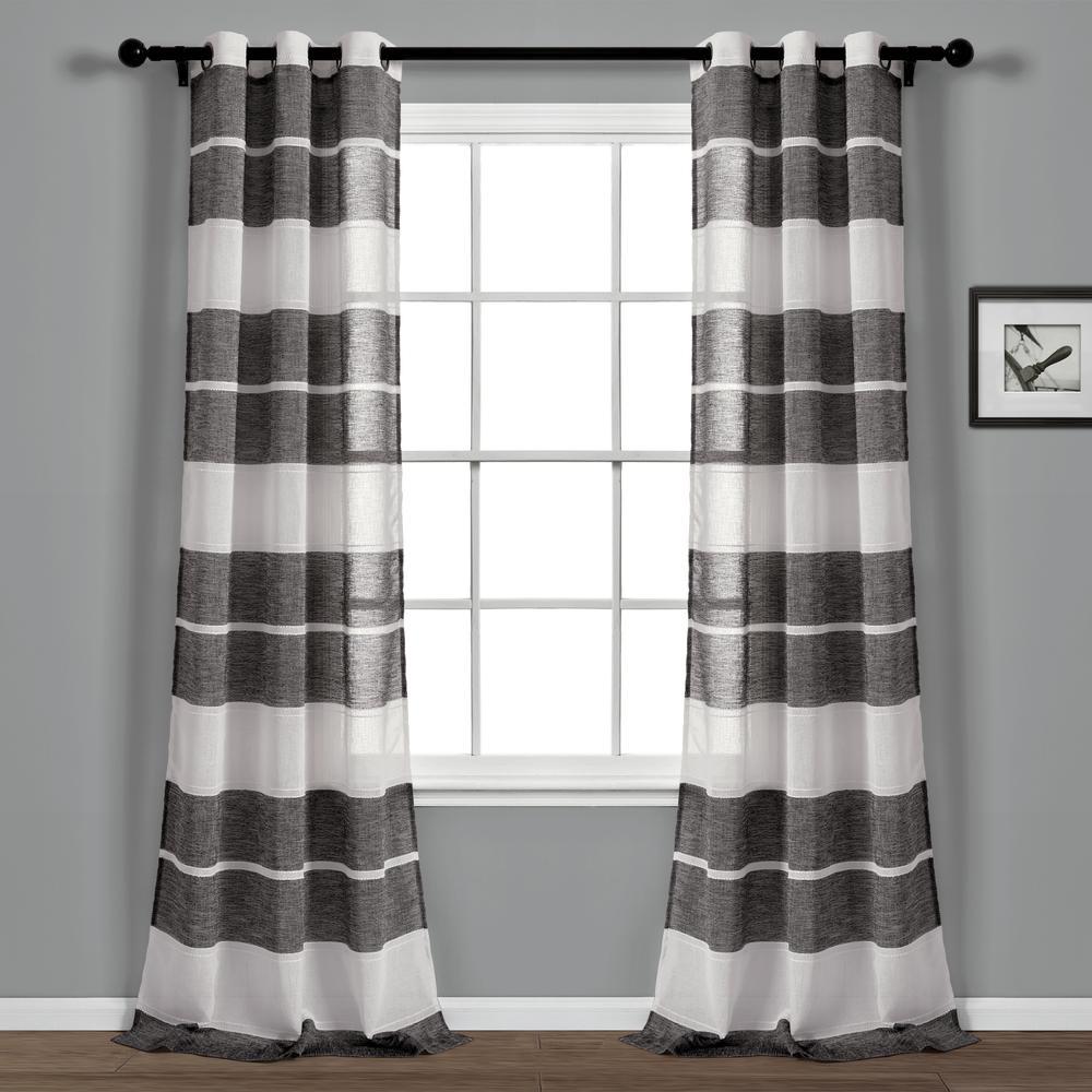 Textured Stripe Grommet Sheer Window Curtain Panels Black/white 38x84 Set Lush Decor Throughout Ombre Stripe Yarn Dyed Cotton Window Curtain Panel Pairs (View 5 of 20)