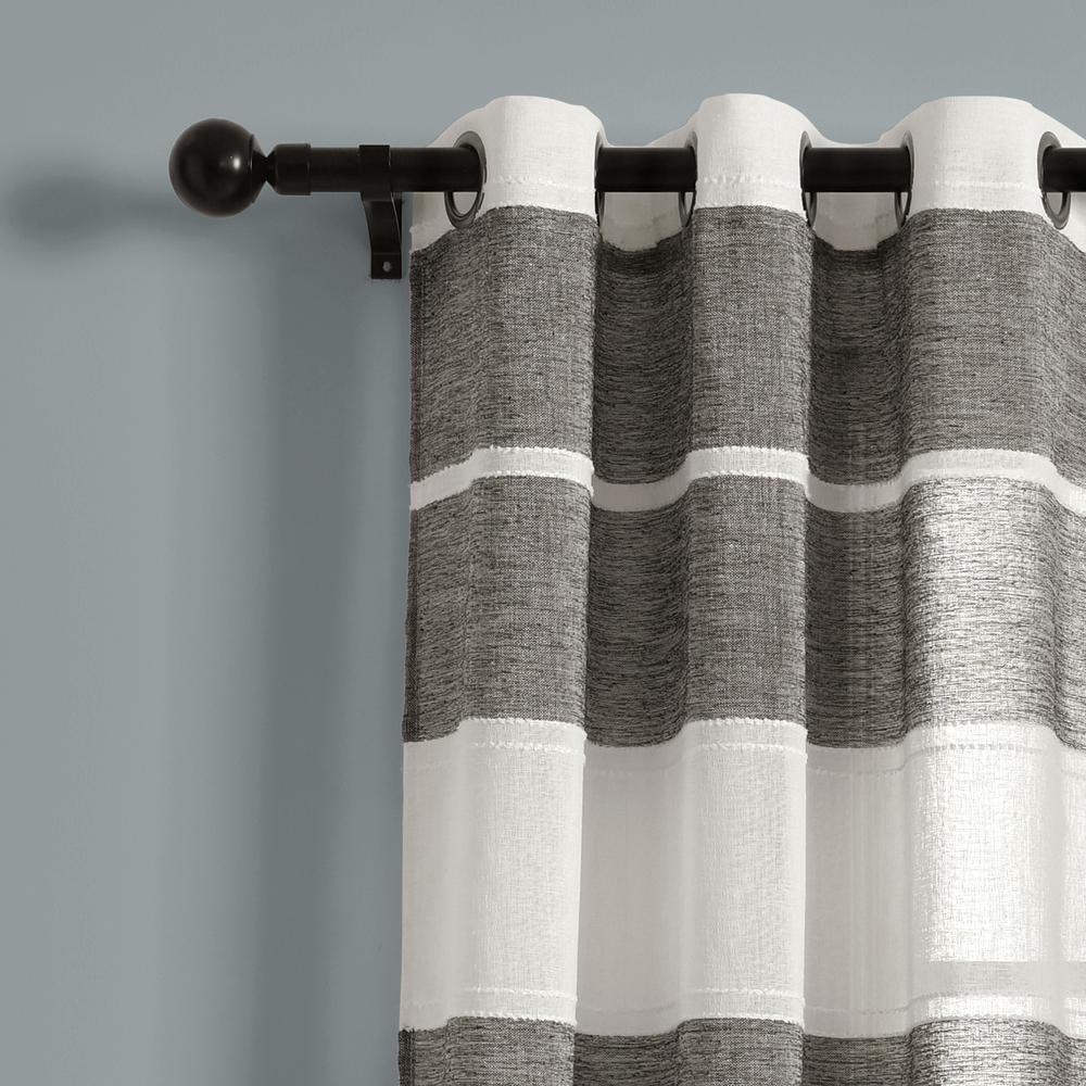 Textured Stripe Grommet Sheer Window Curtain Panels Black/white 38x84 Set Lush Decor With Regard To Ombre Stripe Yarn Dyed Cotton Window Curtain Panel Pairs (View 13 of 20)