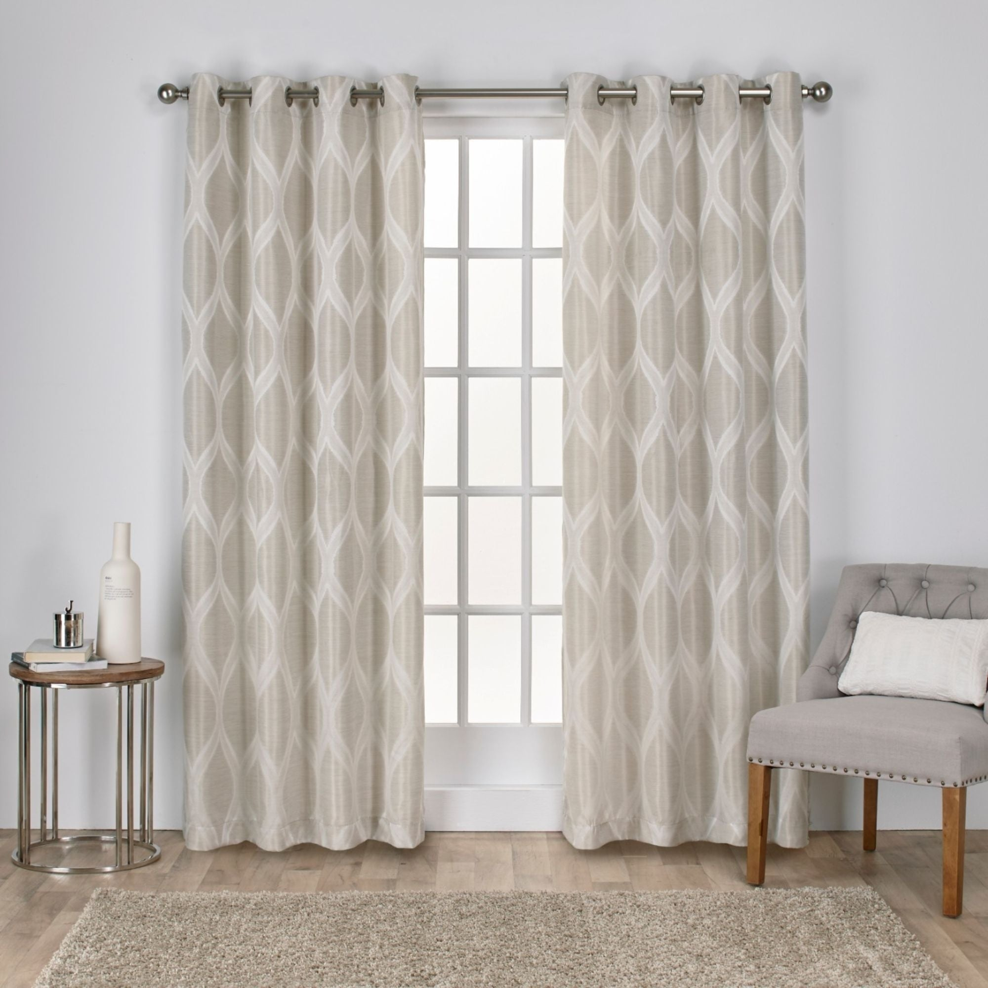 The Curated Nomad Carlton Jacquard Grommet Top Curtain Panel Pair Intended For The Curated Nomad Duane Jacquard Grommet Top Curtain Panel Pairs (View 4 of 30)