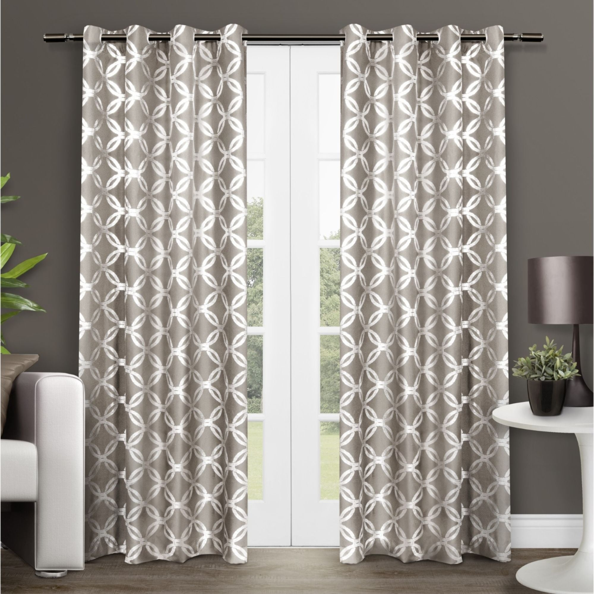 The Curated Nomad Sloat Metallic Geometric Grommet Top Curtain Panel Pair Intended For The Curated Nomad Duane Jacquard Grommet Top Curtain Panel Pairs (View 2 of 30)