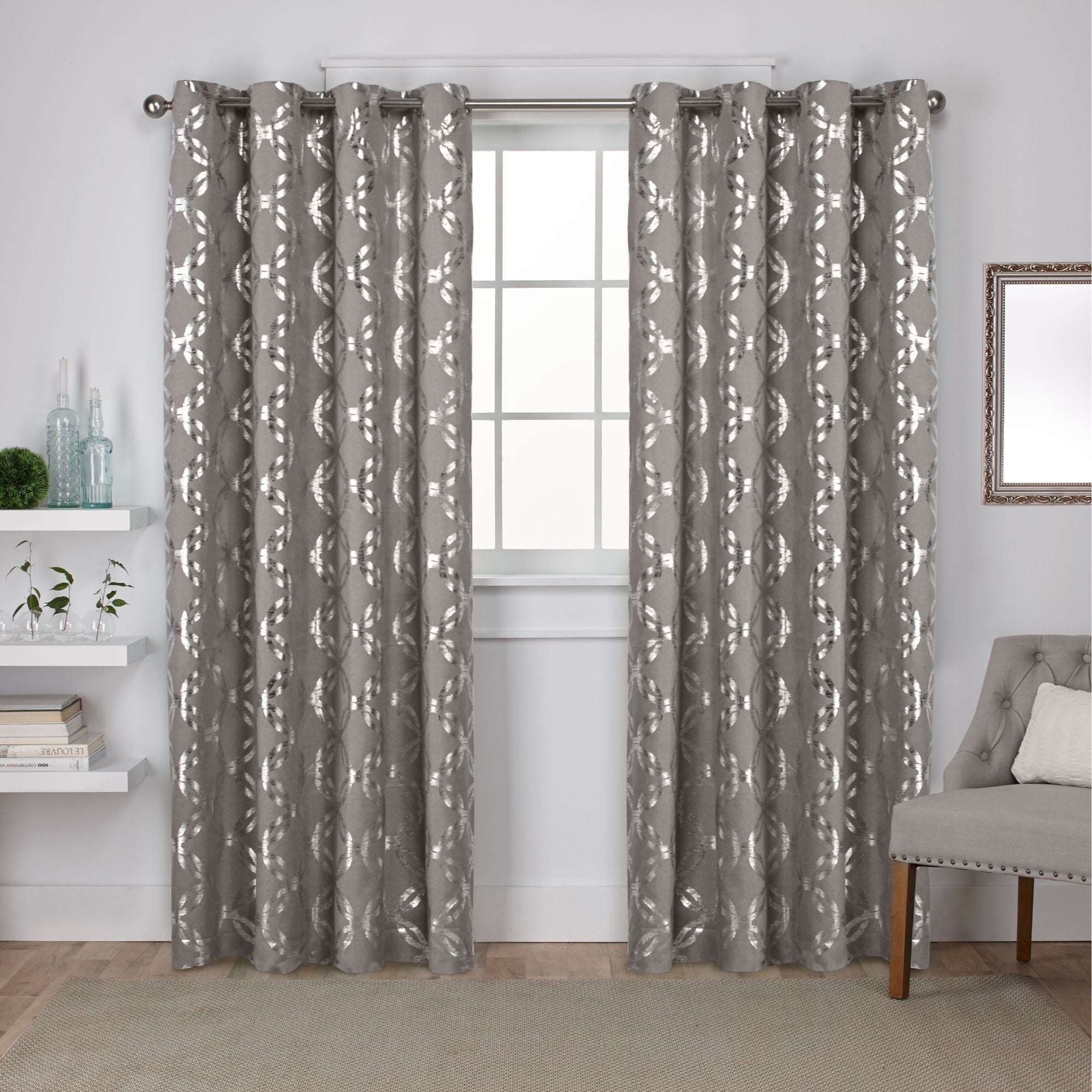 The Curated Nomad Sloat Metallic Geometric Grommet Top Curtain Panel Pair Pertaining To The Curated Nomad Duane Jacquard Grommet Top Curtain Panel Pairs (View 6 of 30)