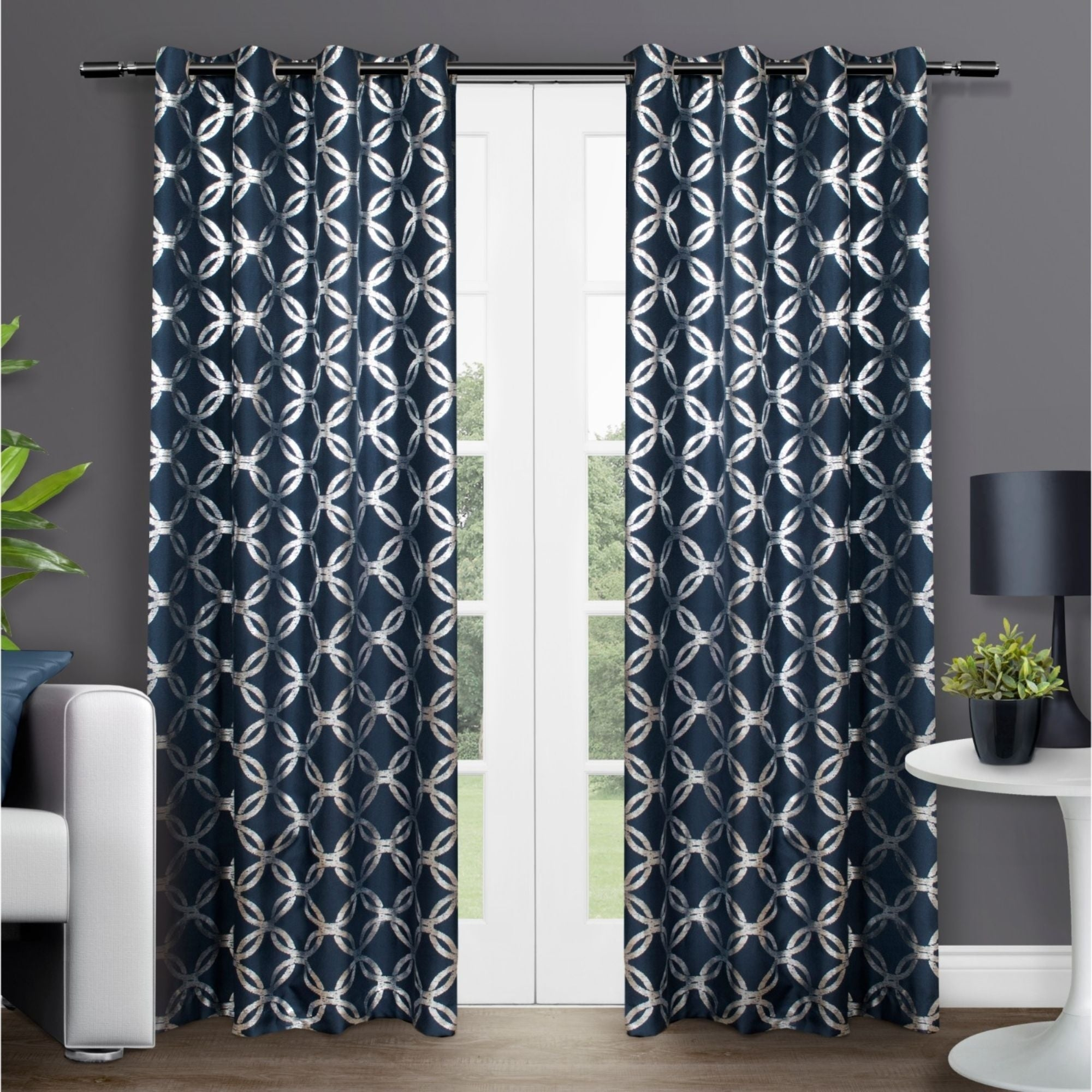 The Curated Nomad Sloat Metallic Geometric Grommet Top Curtain Panel Pair With Regard To The Curated Nomad Duane Jacquard Grommet Top Curtain Panel Pairs (View 11 of 30)