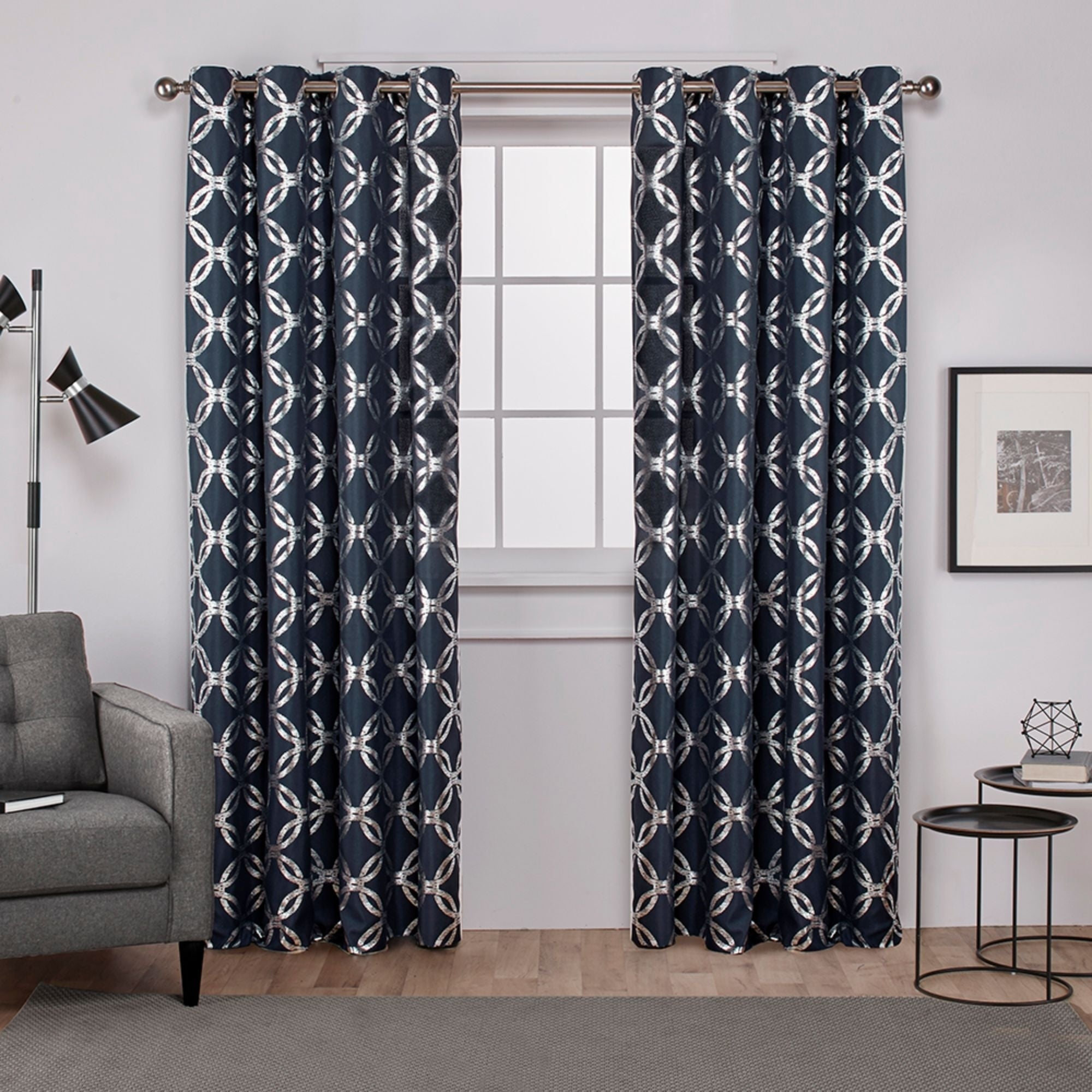 The Curated Nomad Sloat Metallic Geometric Grommet Top Curtain Panel Pair Within The Curated Nomad Duane Blackout Curtain Panel Pairs (View 20 of 30)