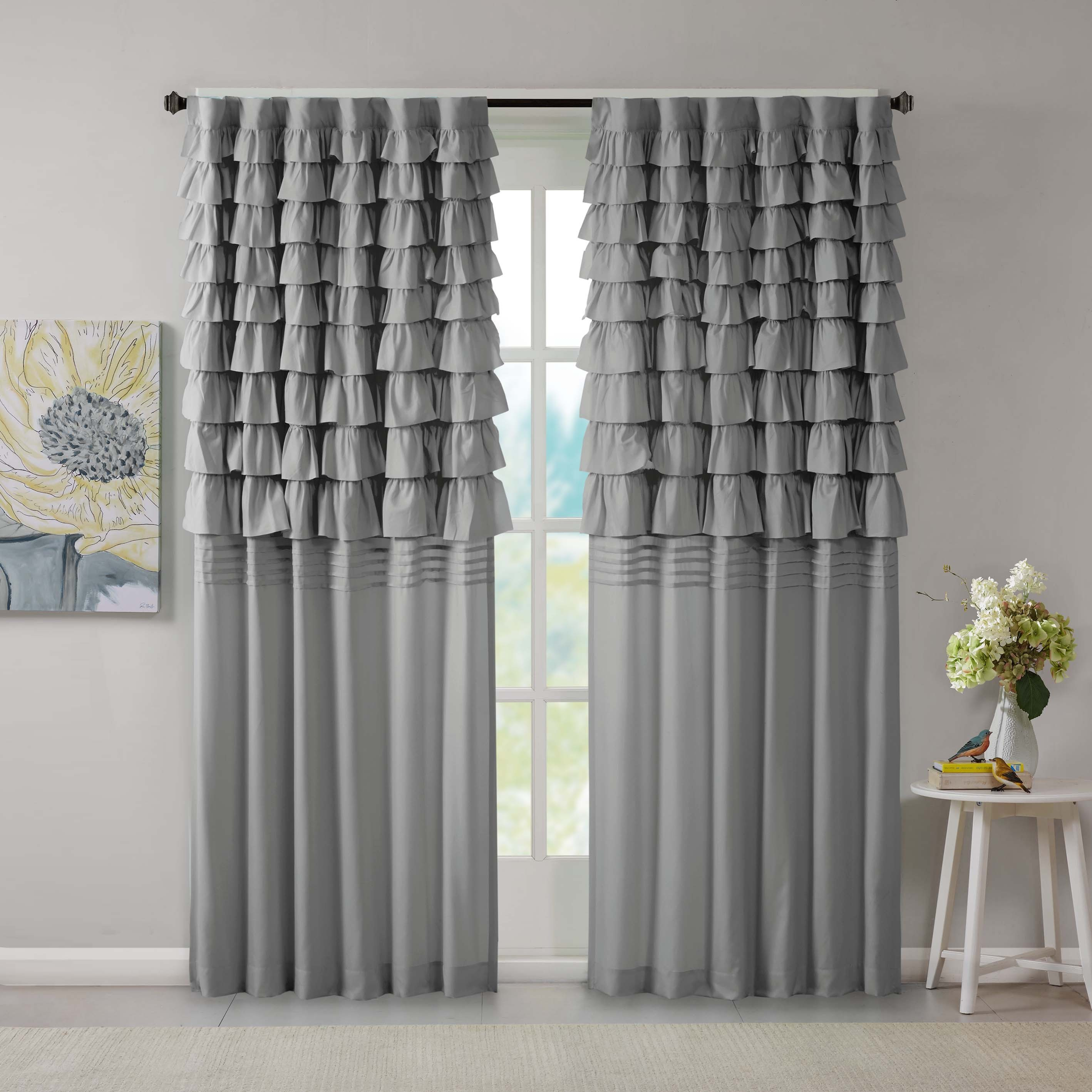 The Gray Barn Maxton Grey Ruched Window Curtain Panel In The Gray Barn Gila Curtain Panel Pairs (View 12 of 30)