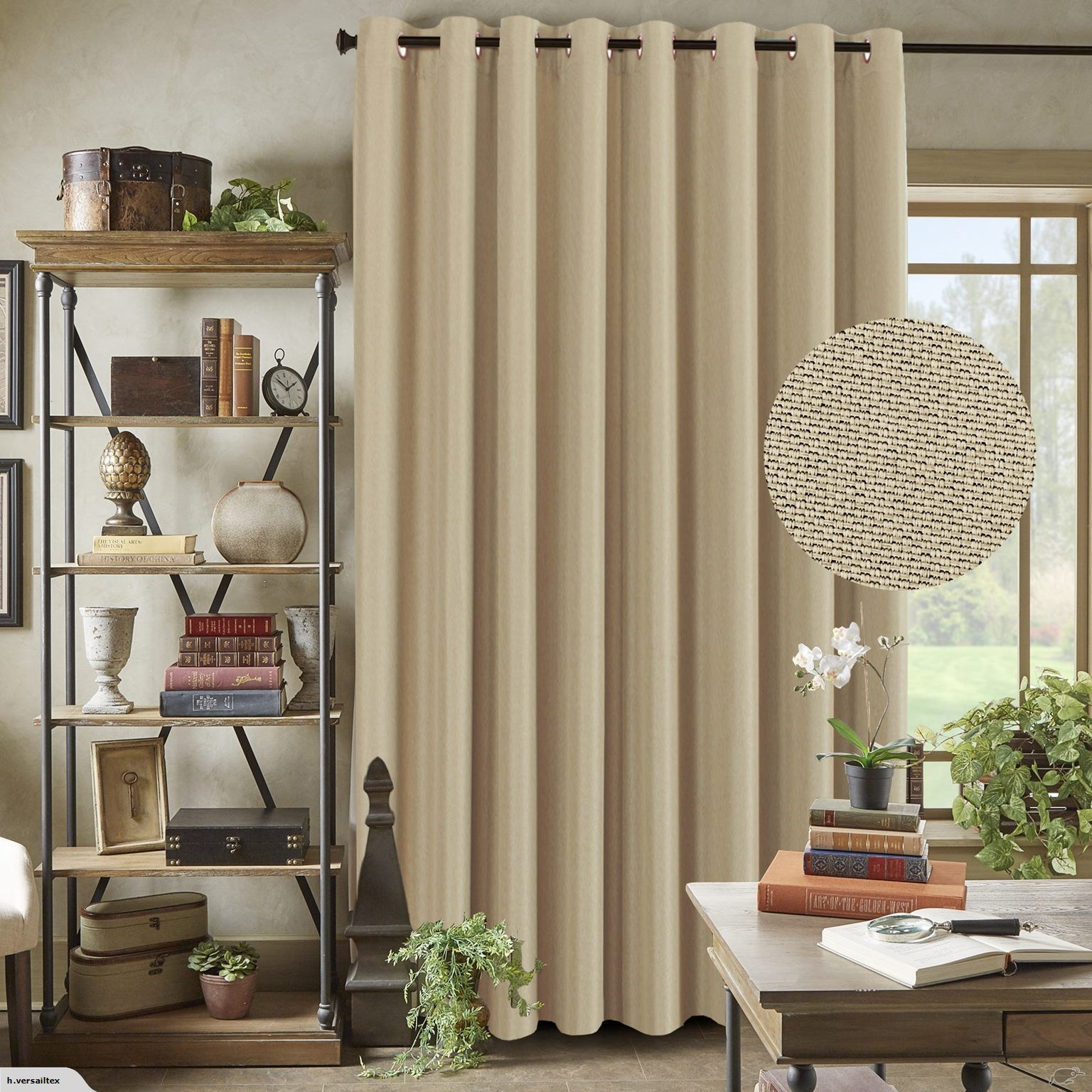 Thermal Insulated Rich Linen Curtain, Elegant Grommet, 254 X 243 Beige With Heavy Faux Linen Single Curtain Panels (View 13 of 20)
