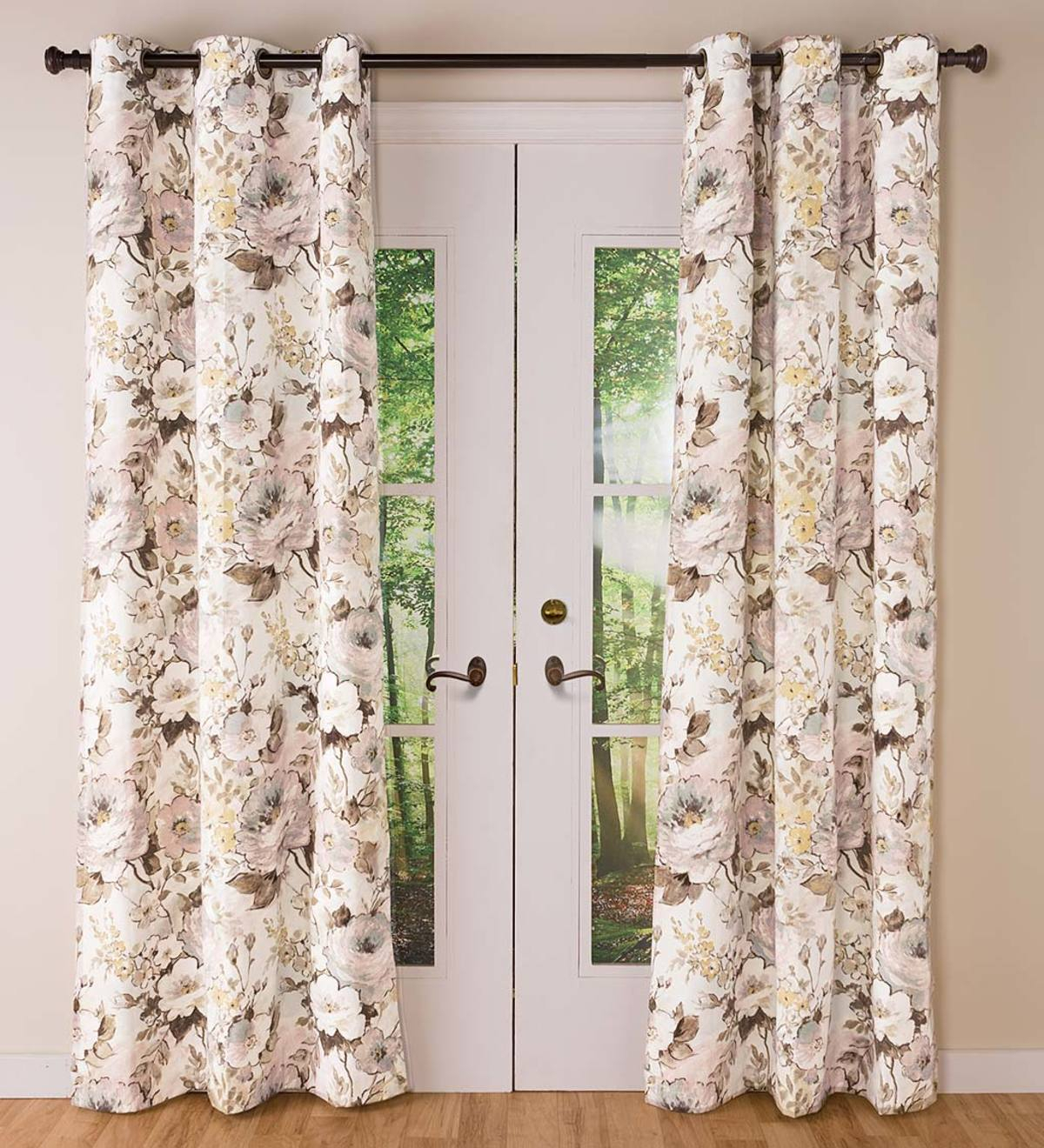 Thermalogic Insulated Bella Donna Floral Grommet Top Curtain Pairs In Insulated Cotton Curtain Panel Pairs (View 14 of 20)