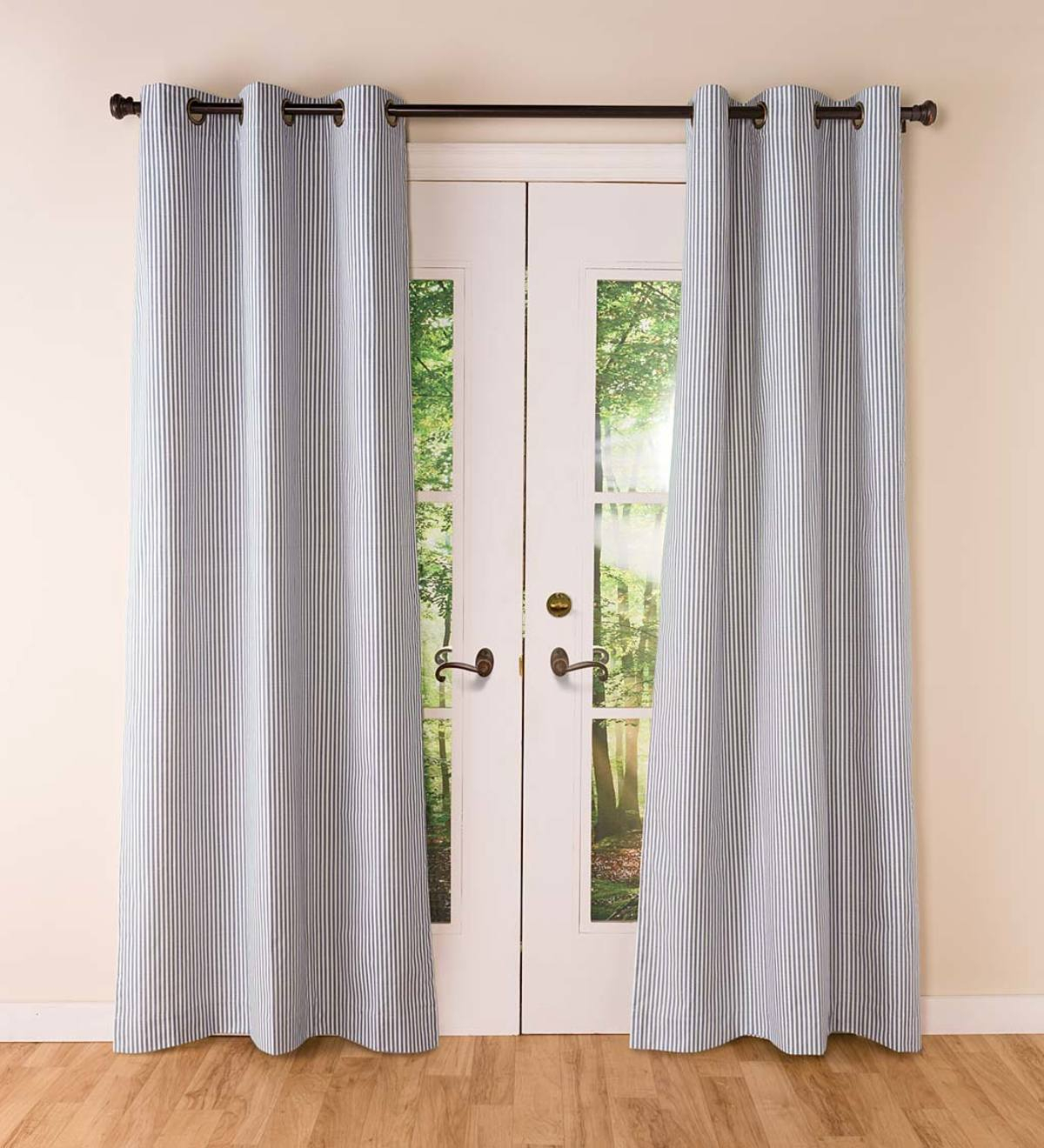 Thermalogic Insulated Ticking Stripe Grommet Top Curtain Pairs Inside Antique Silver Grommet Top Thermal Insulated Blackout Curtain Panel Pairs (View 17 of 20)