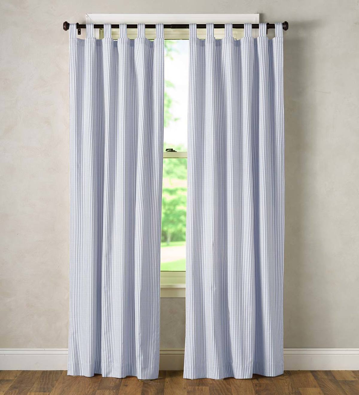 Thermalogic Insulated Ticking Stripe Tab Top Curtain Pairs Throughout Insulated Cotton Curtain Panel Pairs (View 10 of 20)