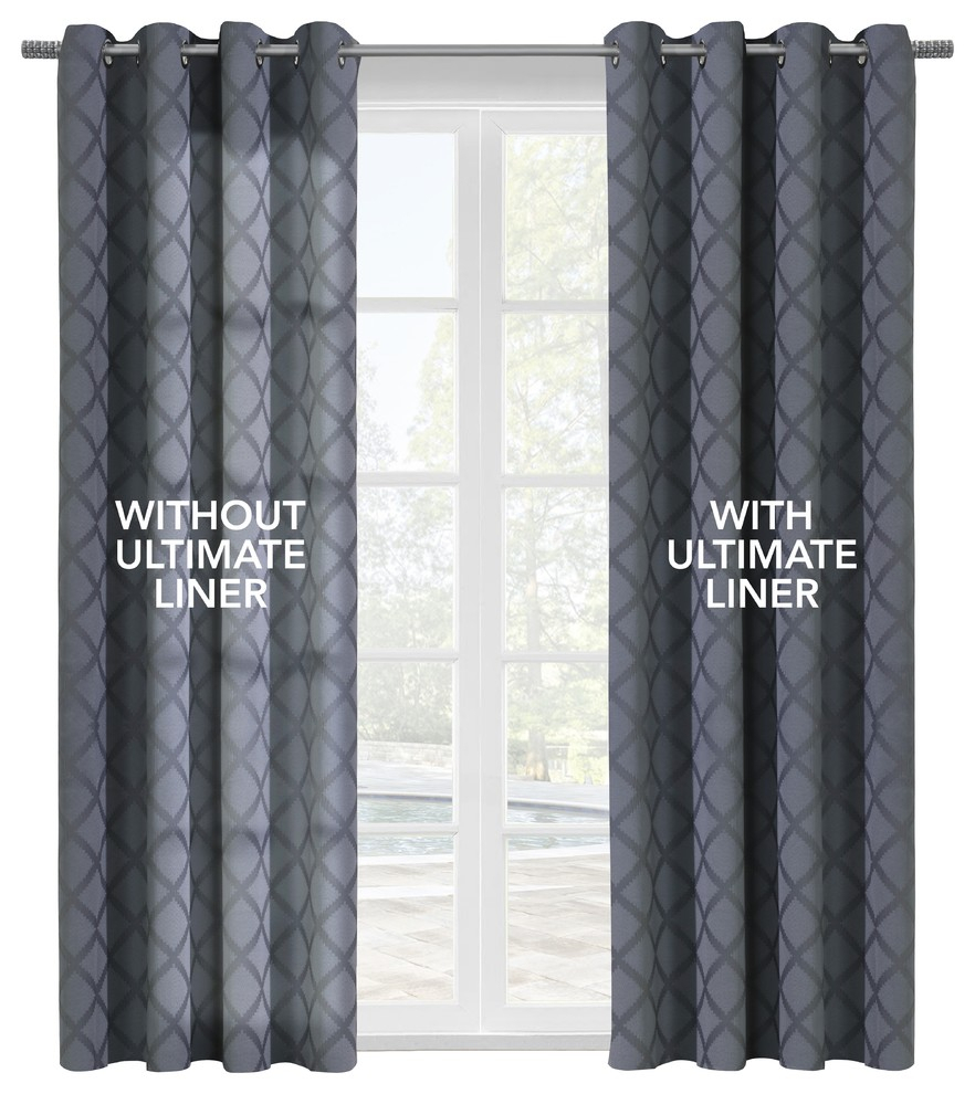 """Thermalogic """"ultimate Liner"""" Blackout Liner, 45""""x101"""" In Ultimate Blackout Short Length Grommet Curtain Panels (View 8 of 30)"""