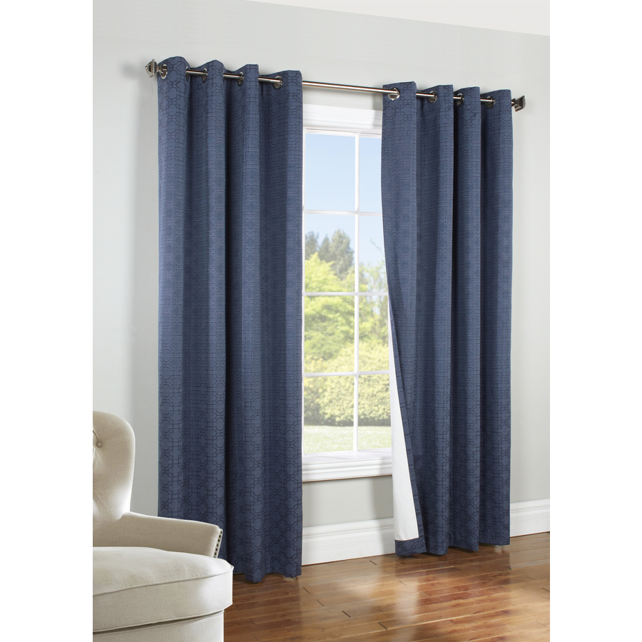 Thermaplus 84 In Navy Polyester Grommet Blackout Thermal Lined Single Curtain Panel Throughout Single Curtain Panels (View 23 of 31)