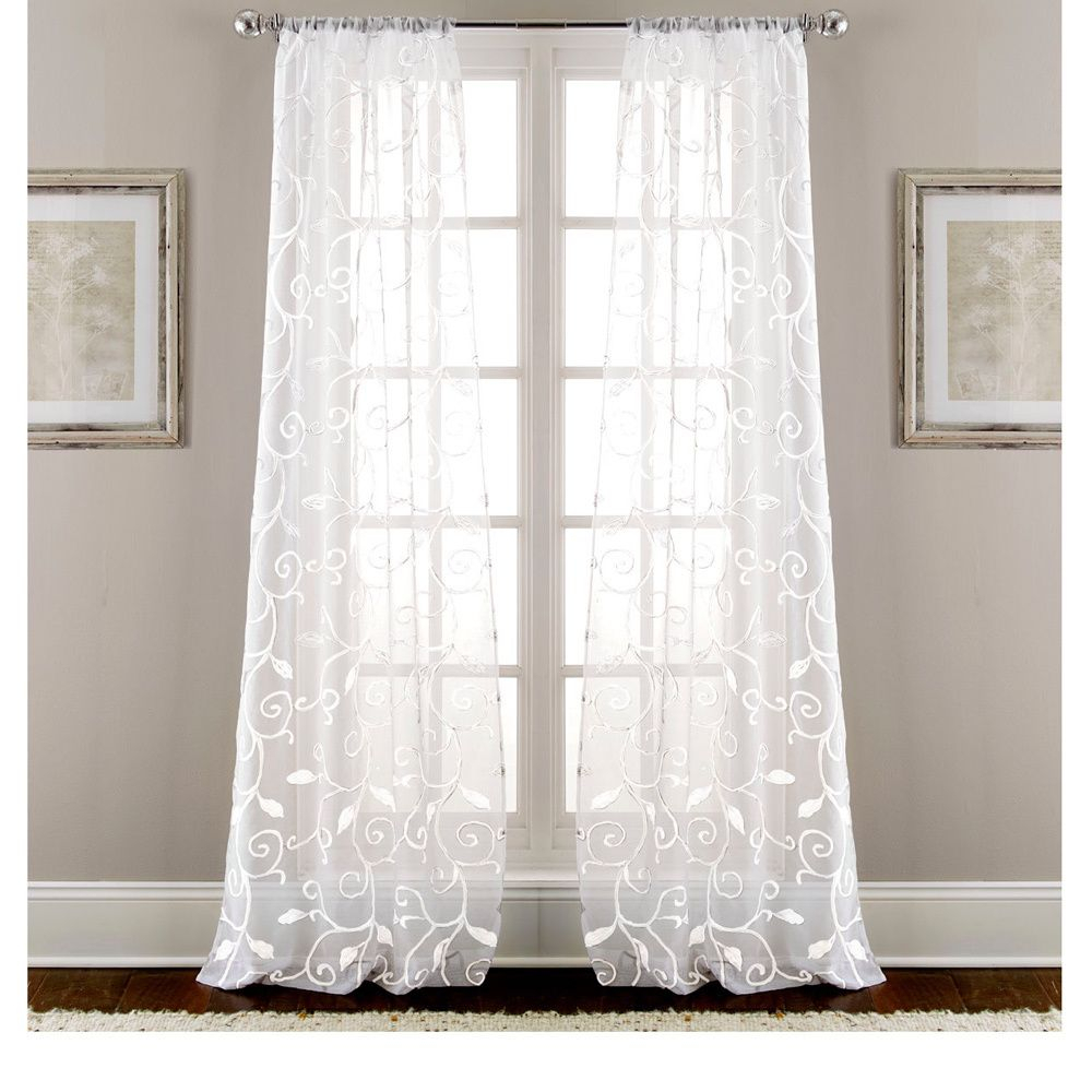 These Stunning Sheen Curtains Offer A Leaf Swirl Design In Kida Embroidered Sheer Curtain Panels (View 12 of 20)