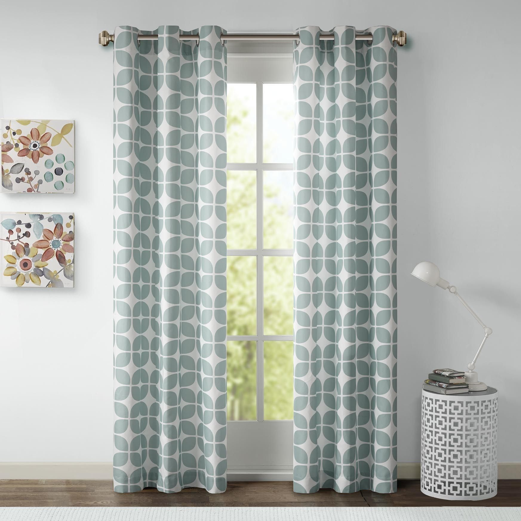 This Geometric Printed Panel Pair Is The Perfect Modern Intended For Essentials Almaden Fretwork Printed Grommet Top Curtain Panel Pairs (View 13 of 20)