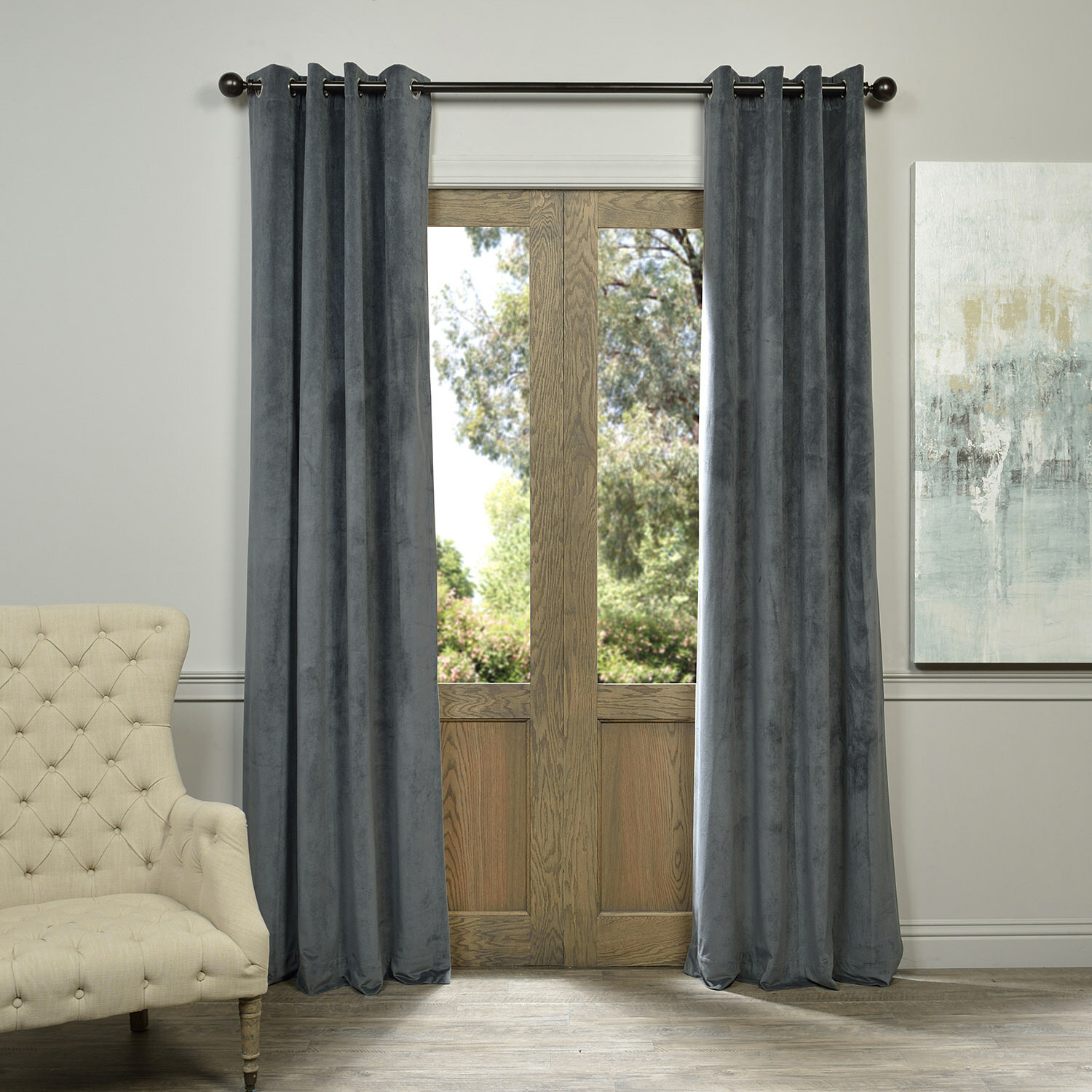 Three Posts Sharpe Solid Velvet Blackout Grommet Single With Regard To Velvet Dream Silver Curtain Panel Pairs (View 21 of 31)