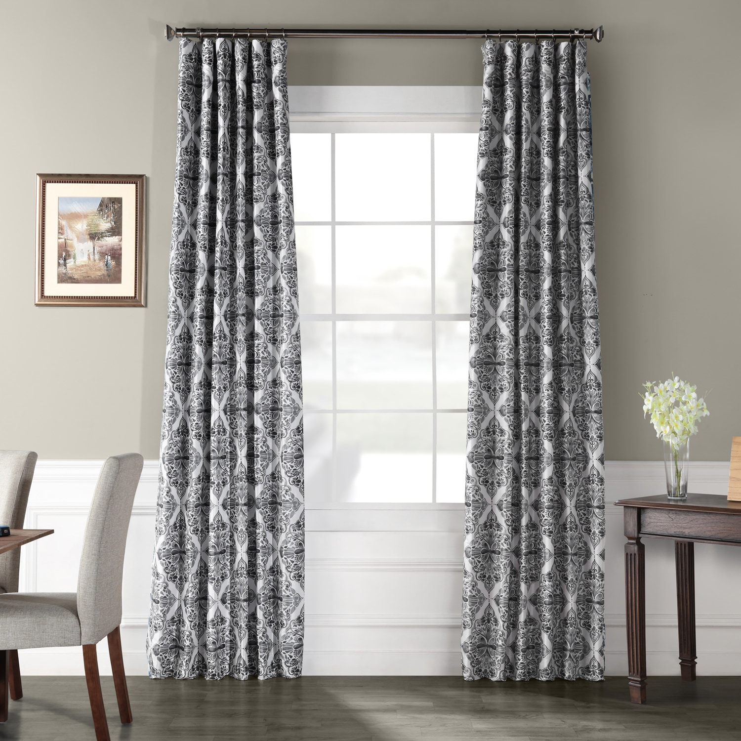 Tiera Grey Printed Faux Silk Taffeta Blackout Curtain Intended For Faux Silk Extra Wide Blackout Single Curtain Panels (View 14 of 20)