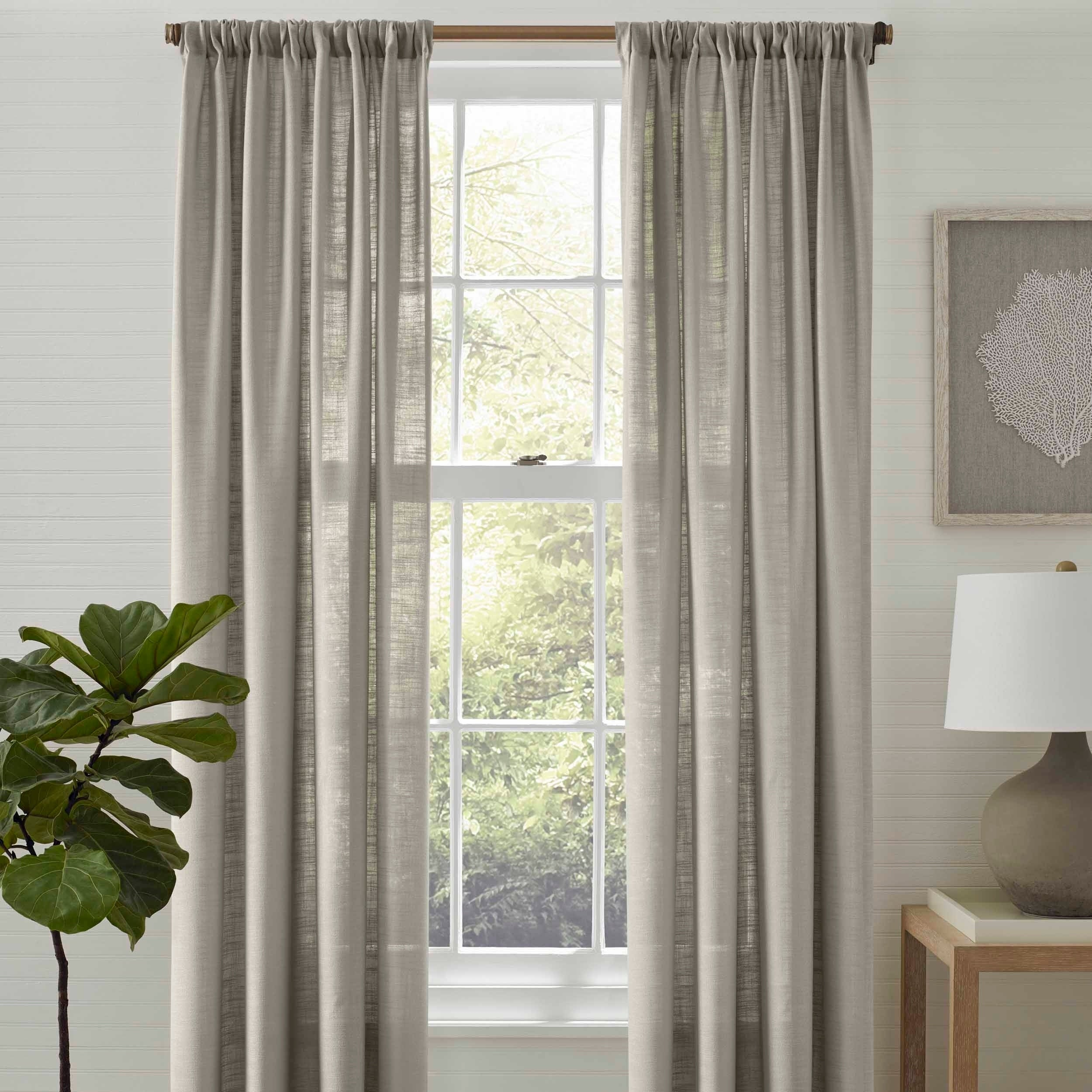 Tommy Bahama Linen Breeze Grey Pole Top Panel Pair – 72x84 Intended For Luxury Collection Summit Sheer Curtain Panel Pairs (View 15 of 20)