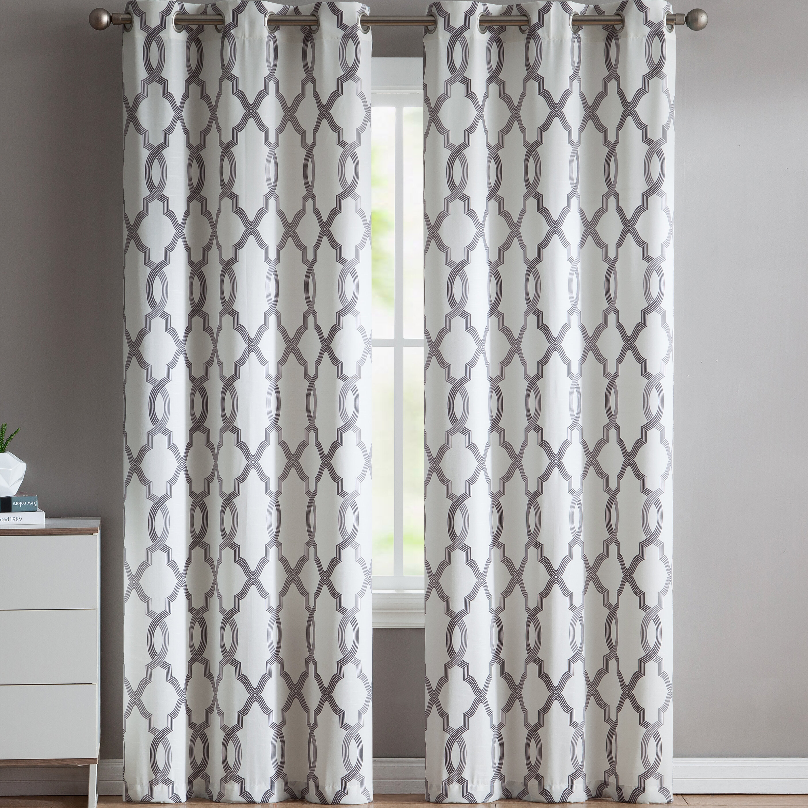 Torr Geometric Semi Sheer Grommet Curtain Panels Intended For Geometric Print Textured Thermal Insulated Grommet Curtain Panels (View 11 of 20)