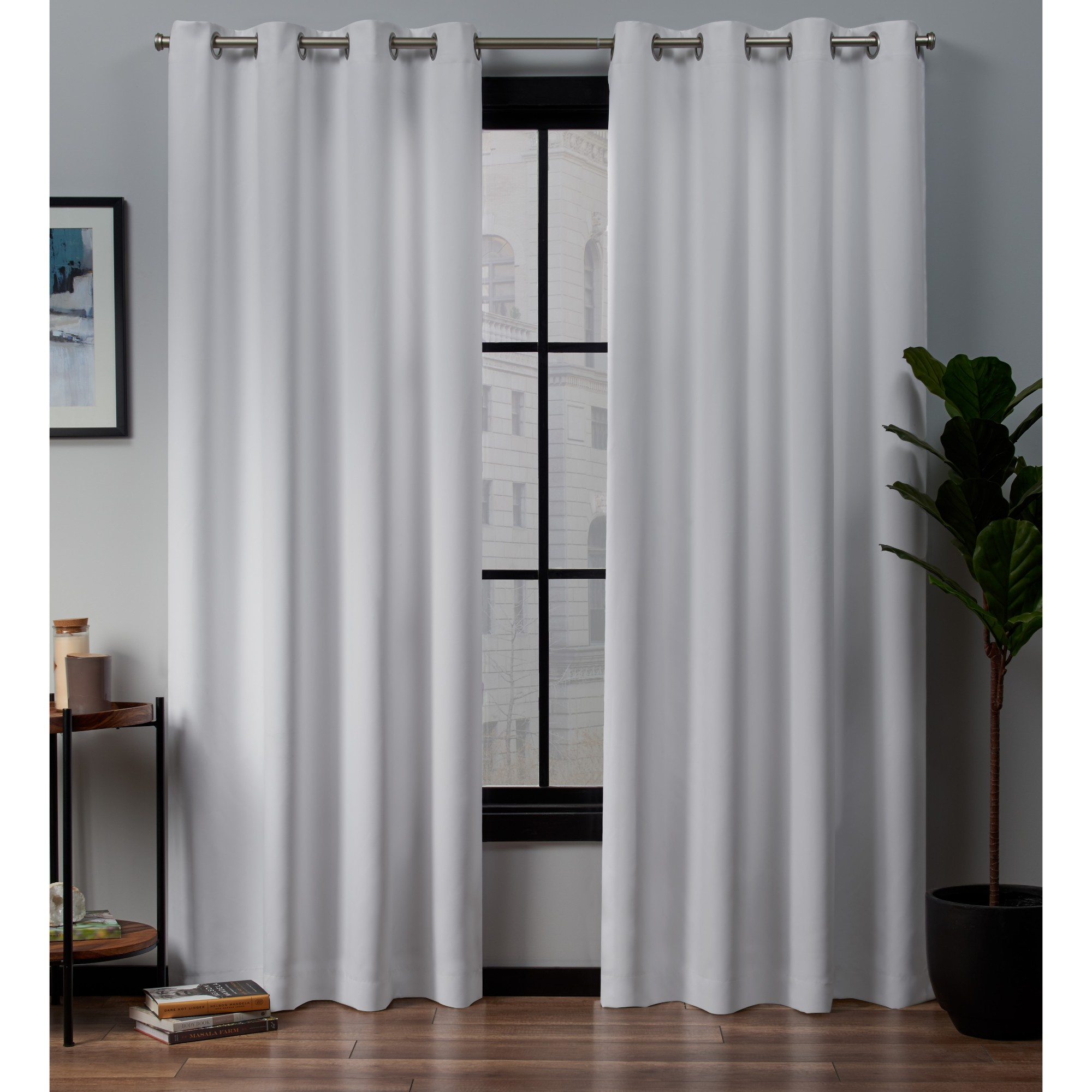 Total Blackout Curtains Grommet | Flisol Home Within Sunsmart Abel Ogee Knitted Jacquard Total Blackout Curtain Panels (View 30 of 30)