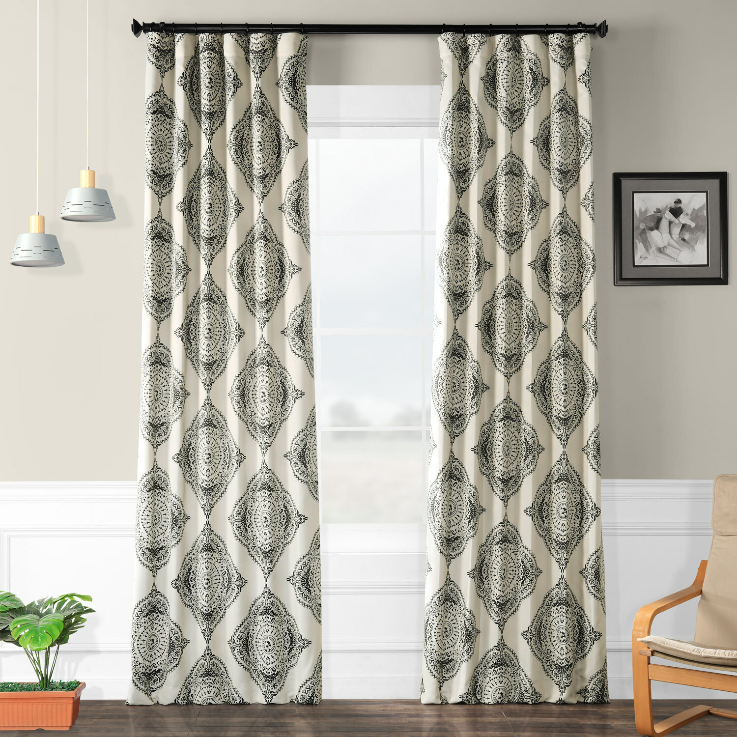 Trent Austin Design Wyndmoor Geometric Synthetic Blackout Rod Pocket Single Curtain Panel Within Luxury Collection Faux Leather Blackout Single Curtain Panels (View 20 of 20)