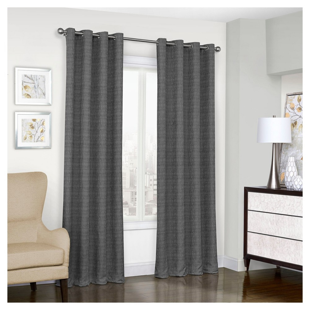 "Trevi Thermalined Curtain Panel Black (52""x63"") – Eclipse Inside Eclipse Trevi Blackout Grommet Window Curtain Panels (View 4 of 20)"