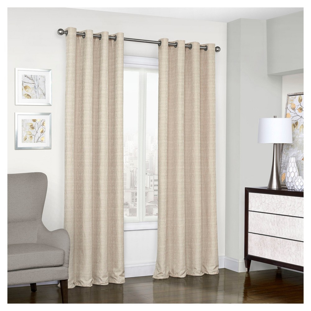 "Trevi Thermalined Curtain Panel Tan (52""x95"") – Eclipse Regarding Eclipse Trevi Blackout Grommet Window Curtain Panels (View 3 of 20)"