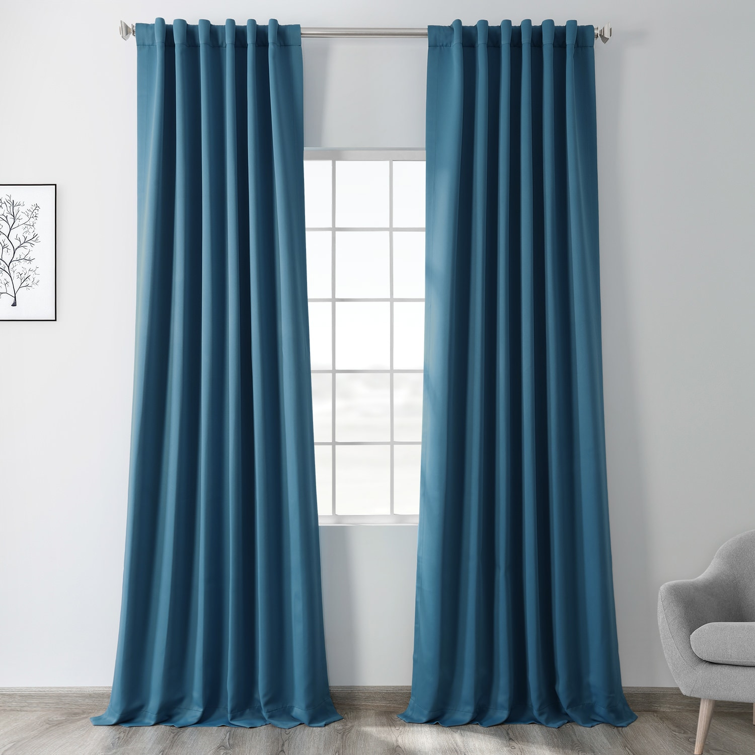 Tsunami Blue Blackout Curtain With Regard To True Blackout Vintage Textured Faux Silk Curtain Panels (View 17 of 30)